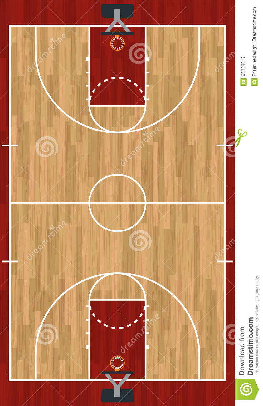 Realistic Vertical Basketball Court Illustration Stock Vector Illustration Of Foul Textured 63252017