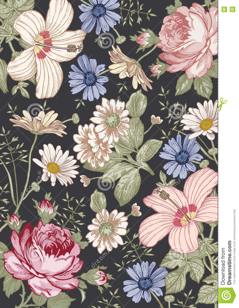 Royalty Free Vector Download Realistic Victorian Flowers Pattern Vintage Background
