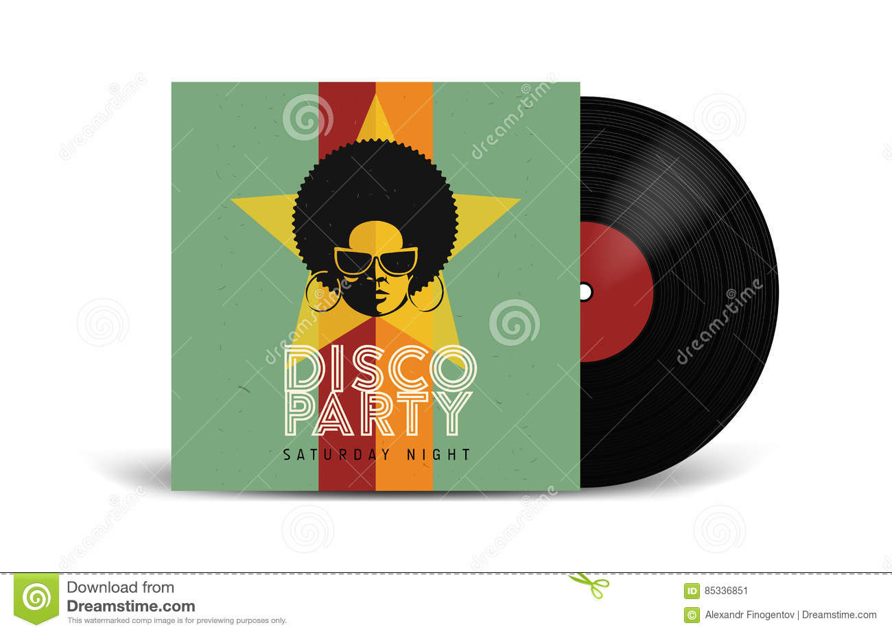 realistic vinyl record with cover mockup disco party retro design front view stock vector. Black Bedroom Furniture Sets. Home Design Ideas