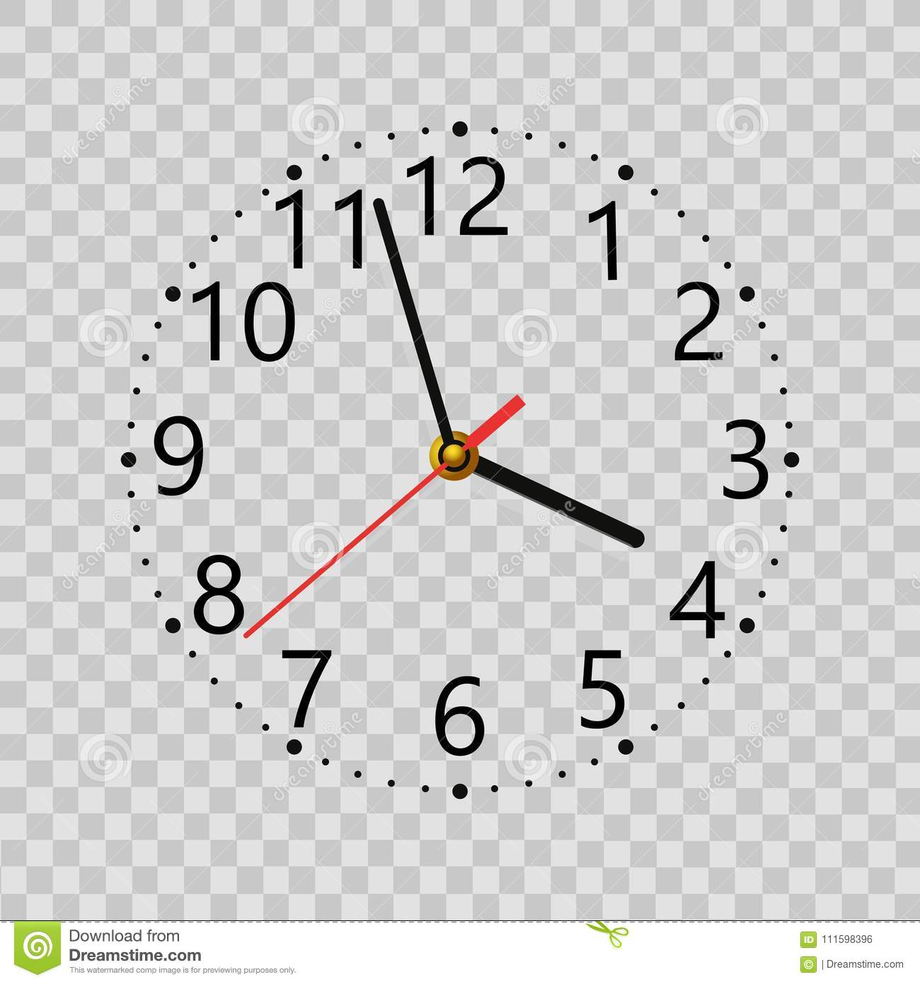 Realistic Wall Clock On Transparent Background  Vector  Stock Vector