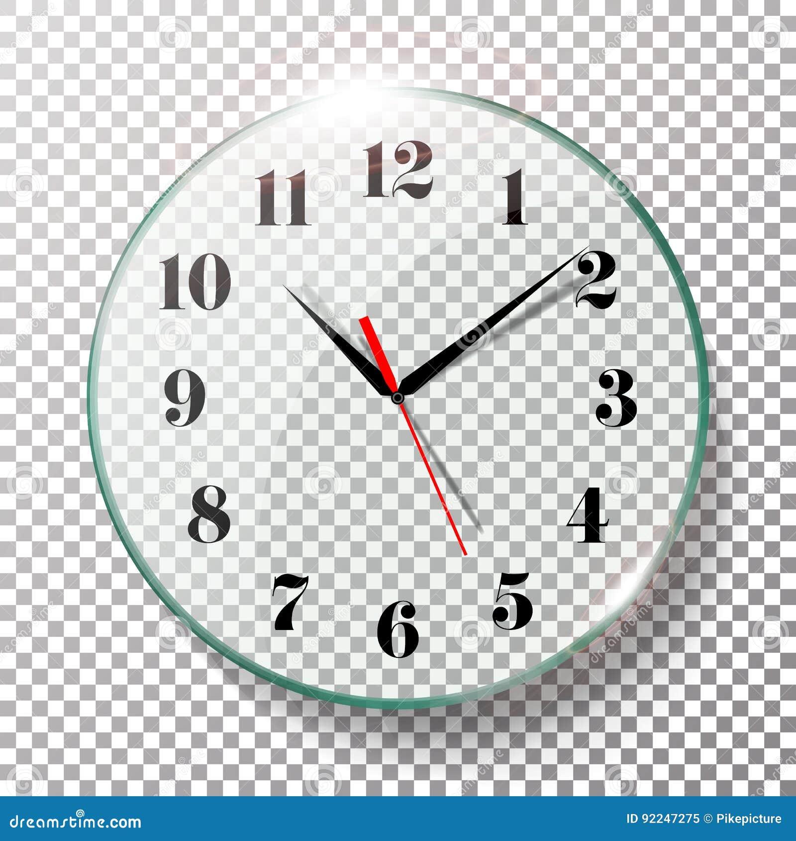 Realistic Wall Clocks Set Vector Illustration. Wall Office ...
