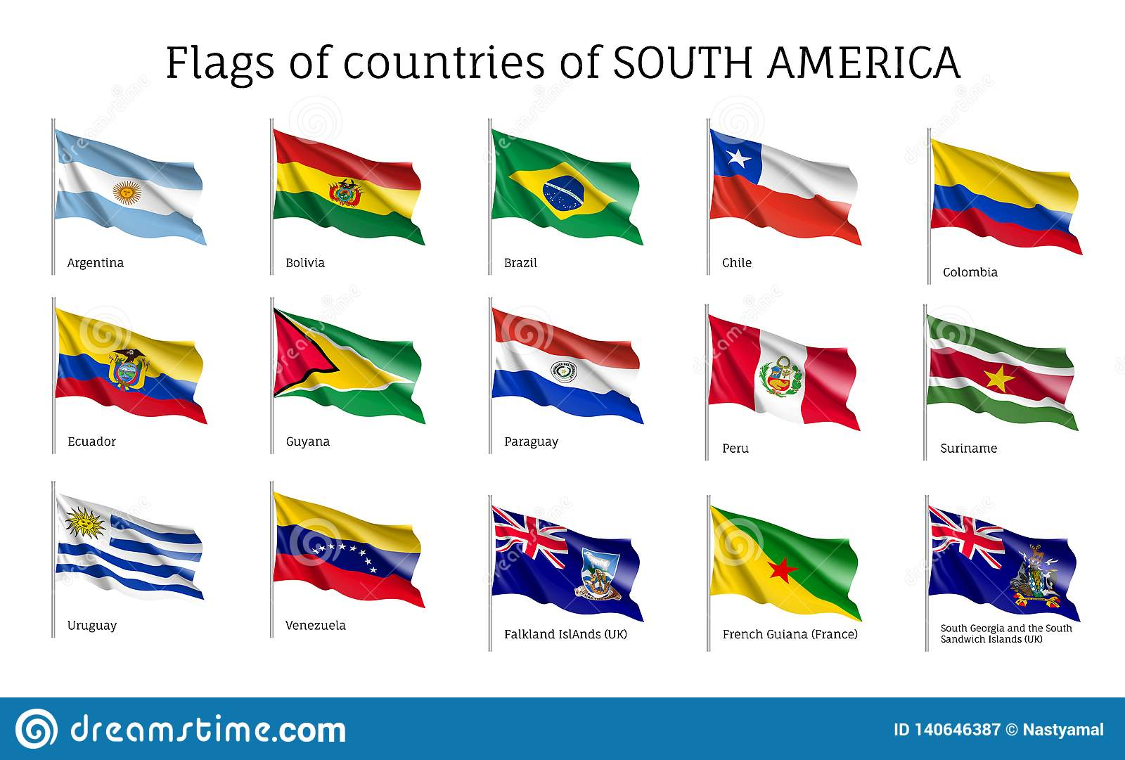 Realistic waving flags of South America continent