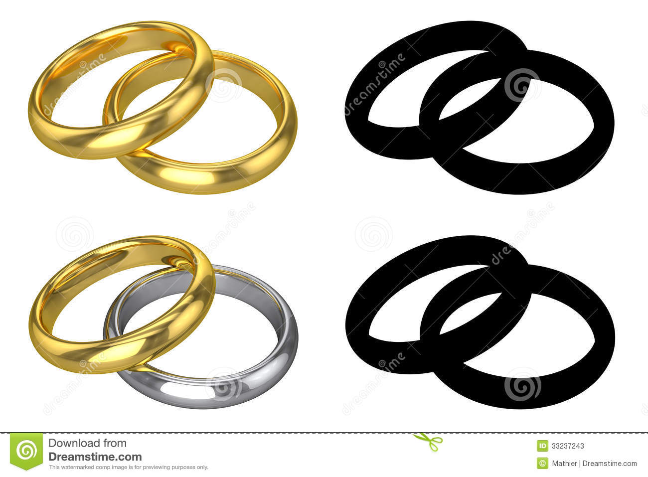 Realistic Wedding Rings ISOLATED Stock s Image