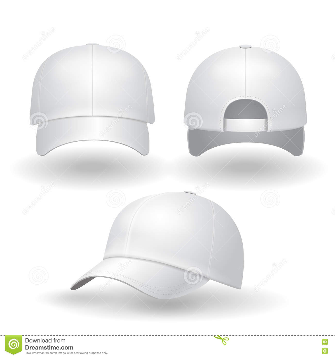 realistic white baseball cap set back front and side view