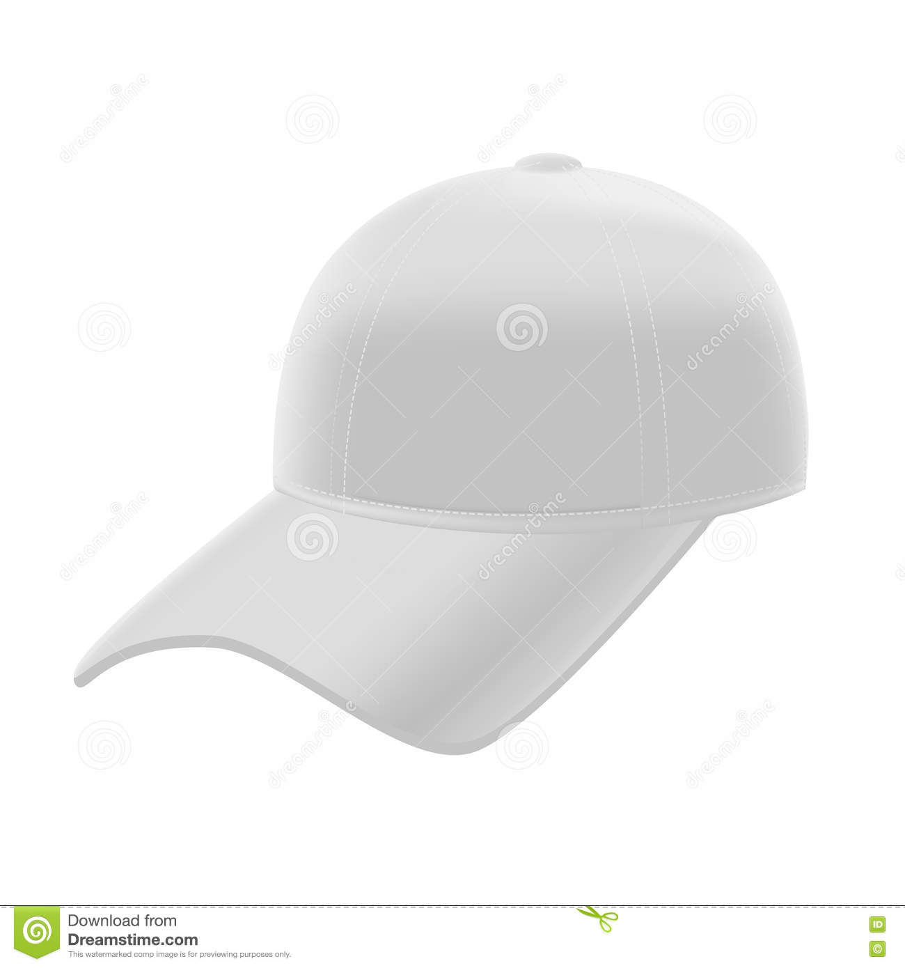 realistic white baseball cap template mockup vector stock vector