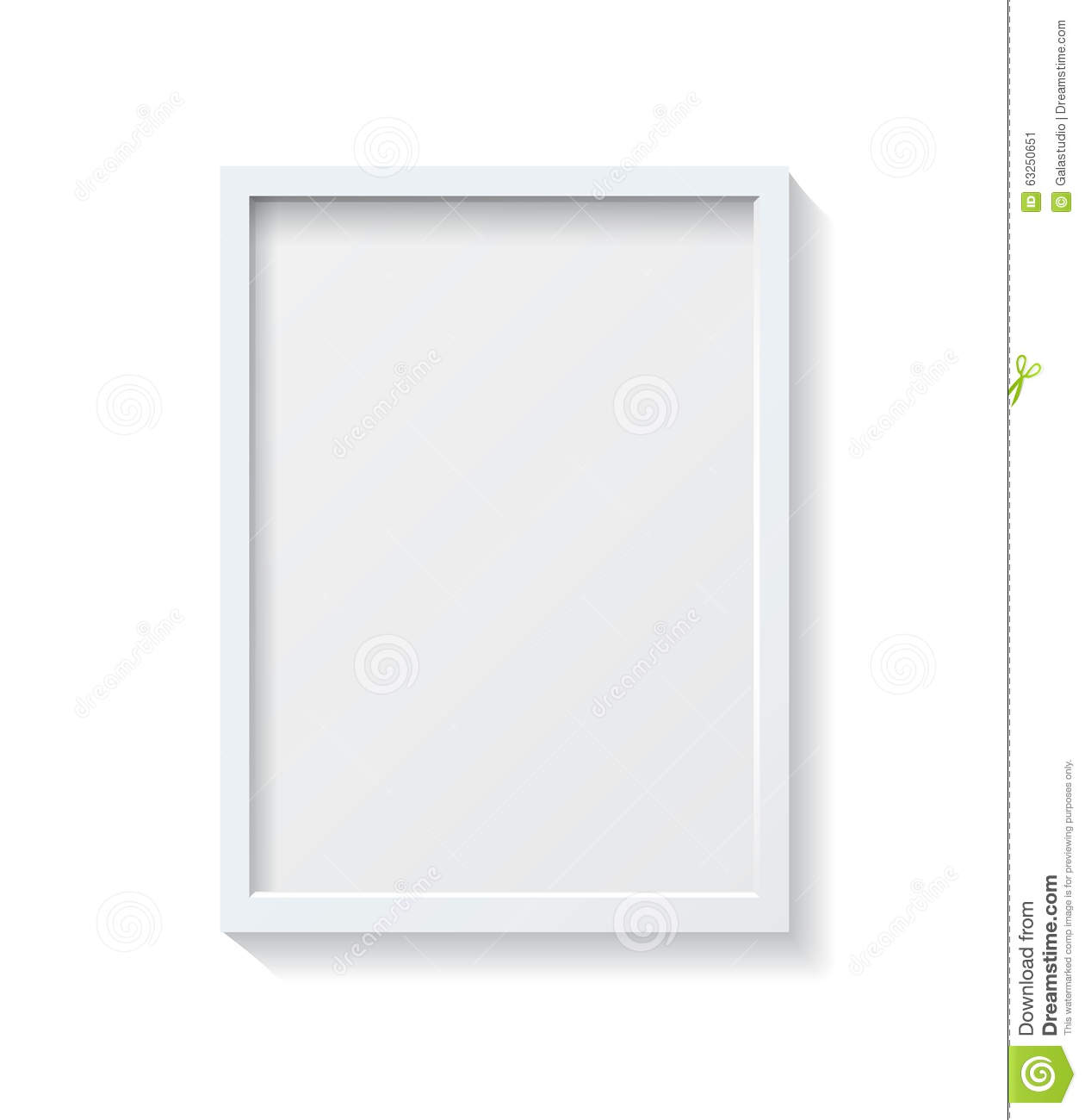 realistic white blank picture frame hanging on a wall fro