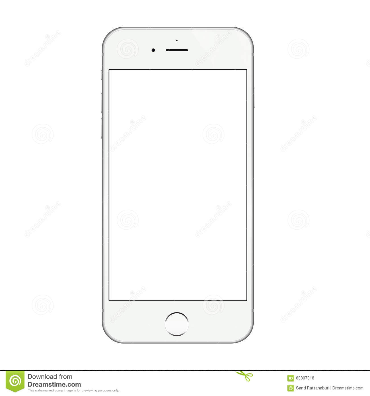 best service f452b 51adb Realistic White Iphone 6 Blank Screen Vector Design Editorial Stock ...