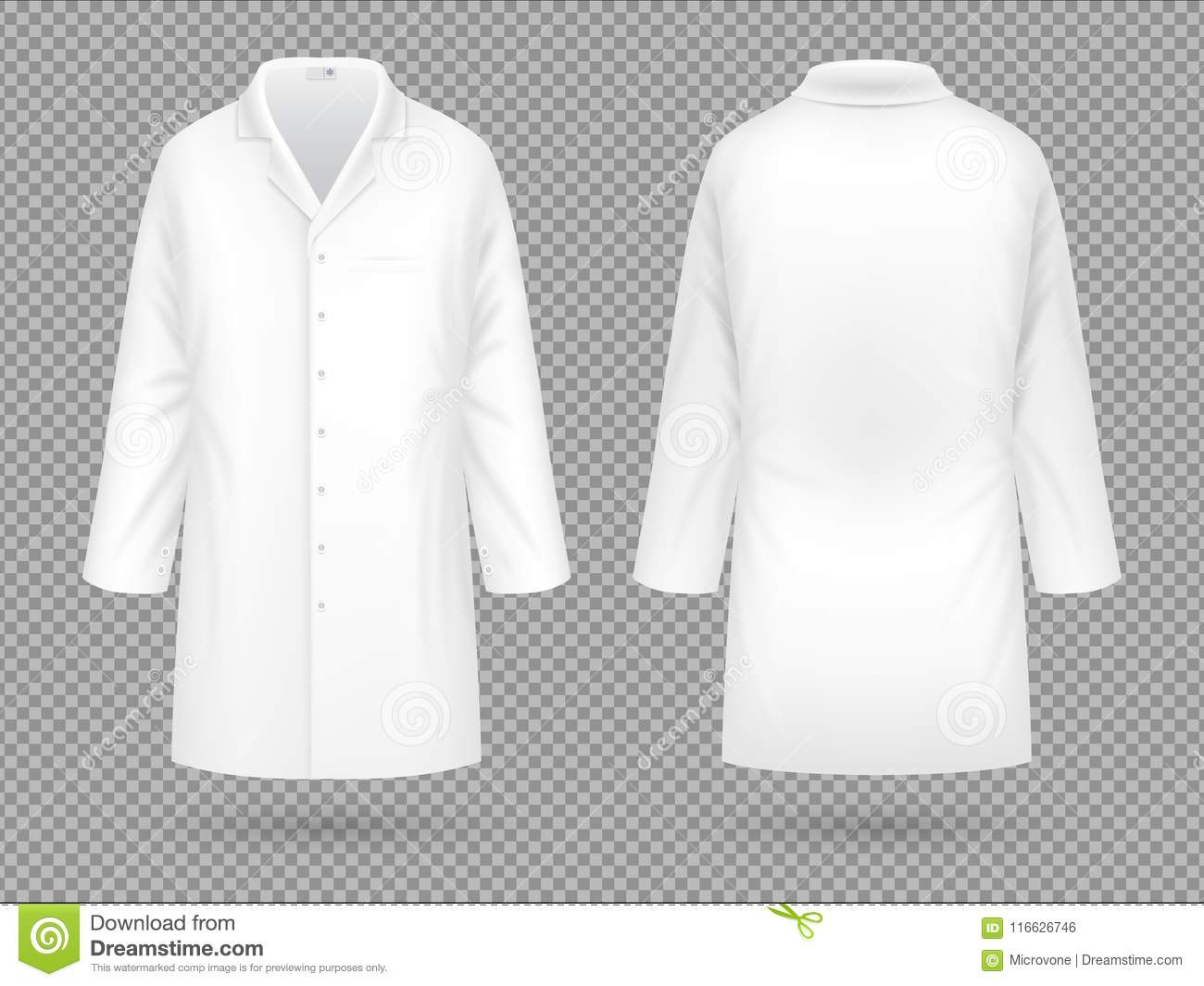 Realistic White Medical Lab Coat Hospital Professional Suit Vector Template Isolated