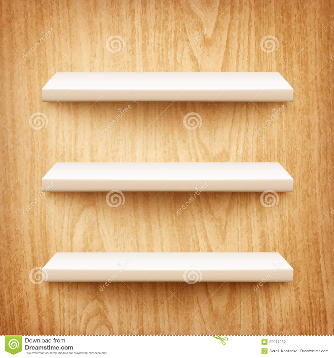 realistic white shelves on wooden wall stock photography image 32077052. Black Bedroom Furniture Sets. Home Design Ideas