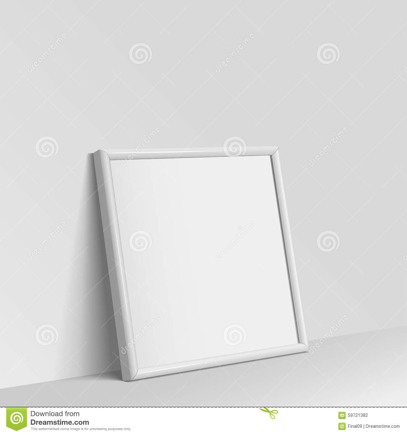 Realistic White Square Shape Frame For Paintings Stock Vector ...