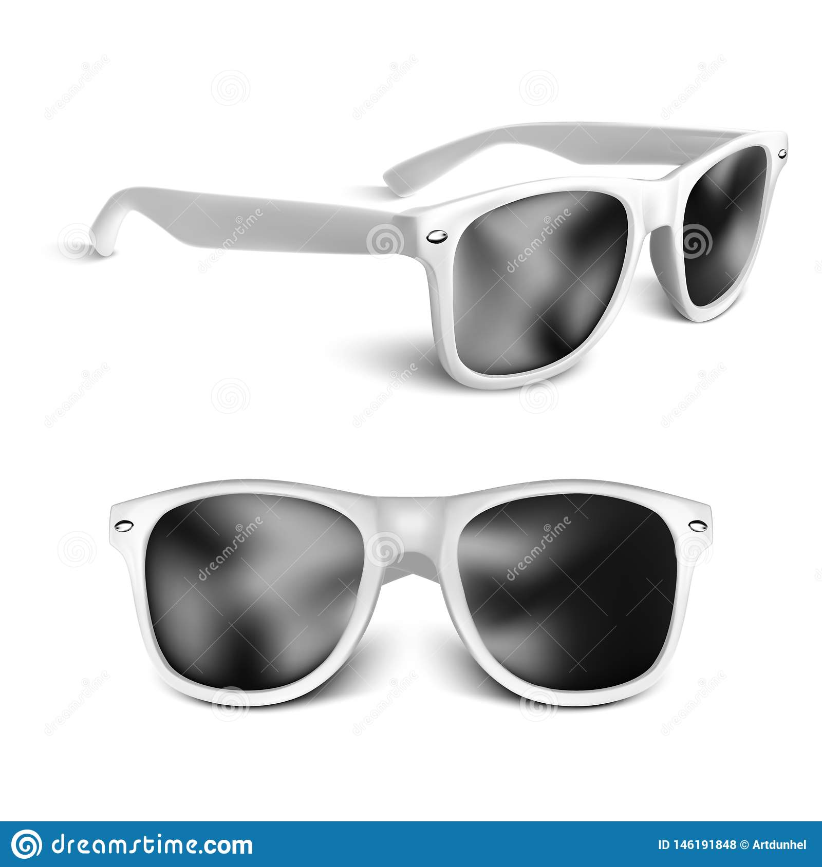 Realistic white sun glasses isolated on white background. vector illustration