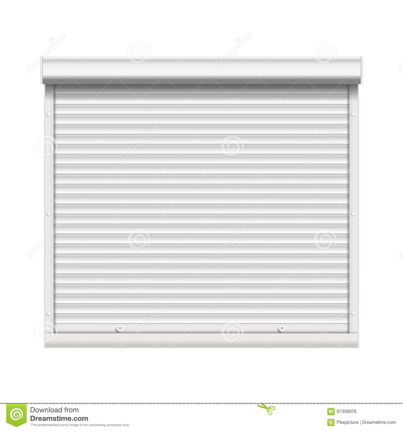 Realistic Window Roller Shutters Vector Front View