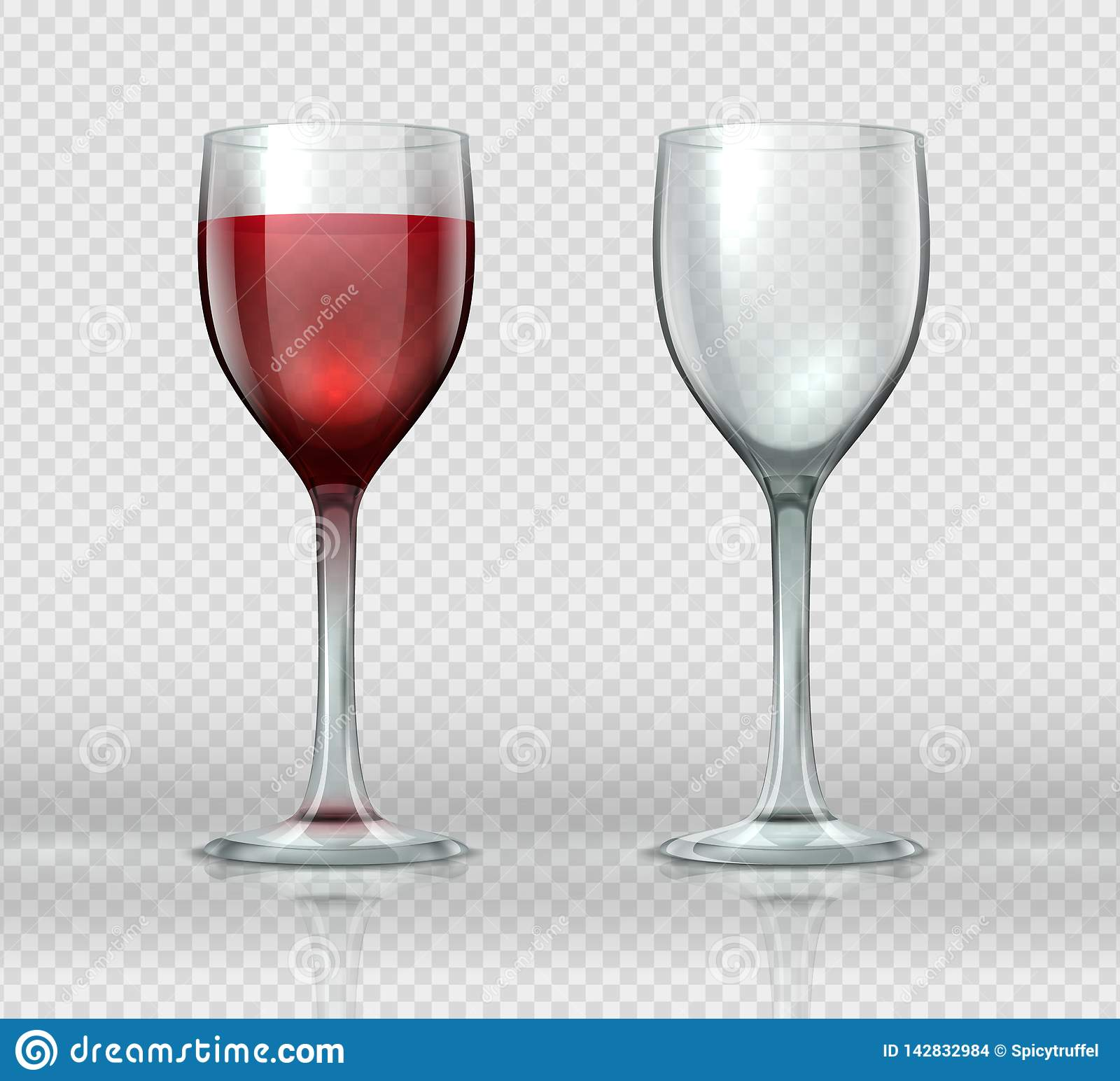 Realistic wine glasses. Transparent isolated wineglass with red wine, 3D empty glass cup for cocktails. Vector winery