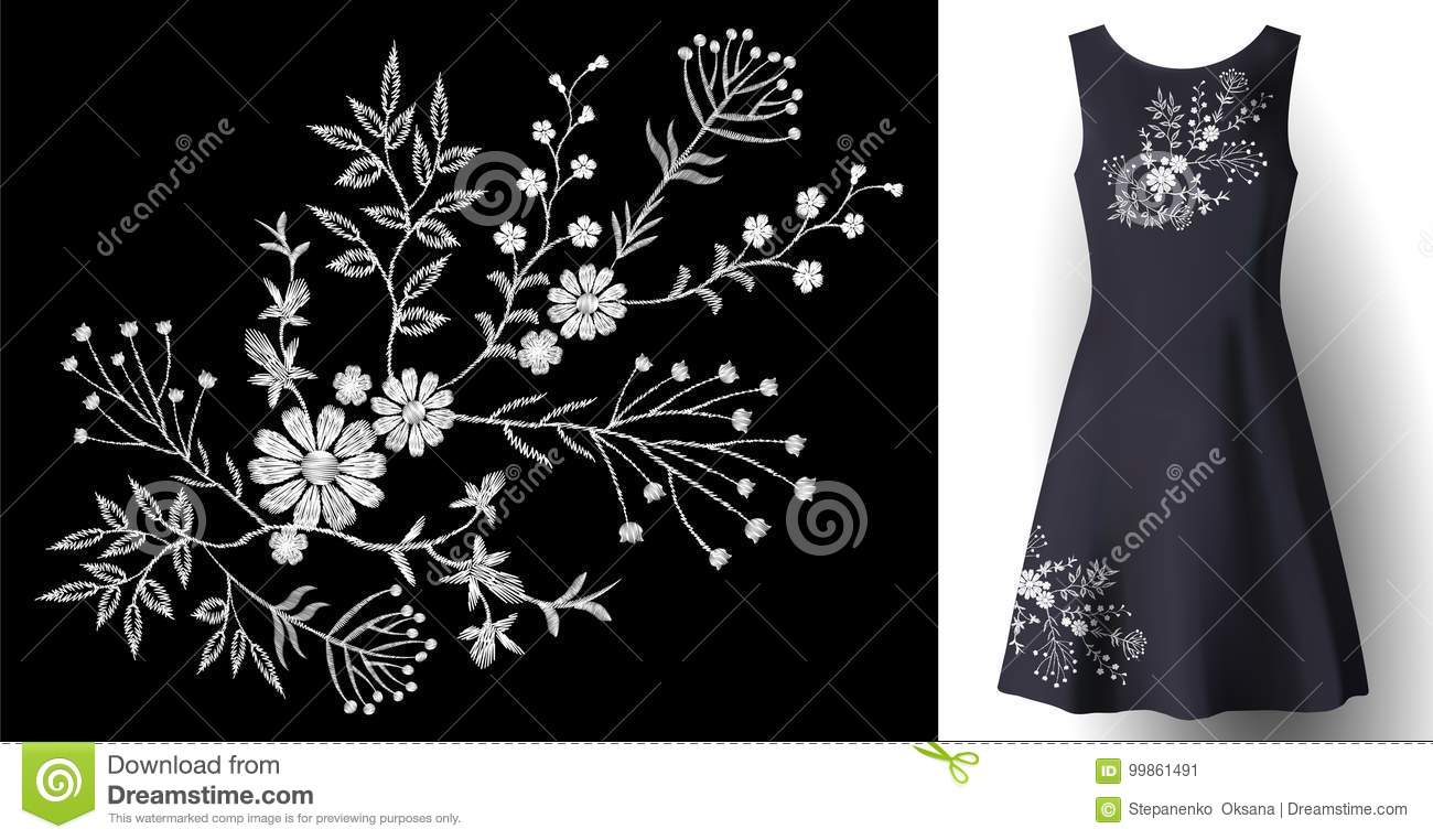 Realistic woman dress embroidery floral decoration. 3d detailed fashion stitched white ornament patch on dark blue