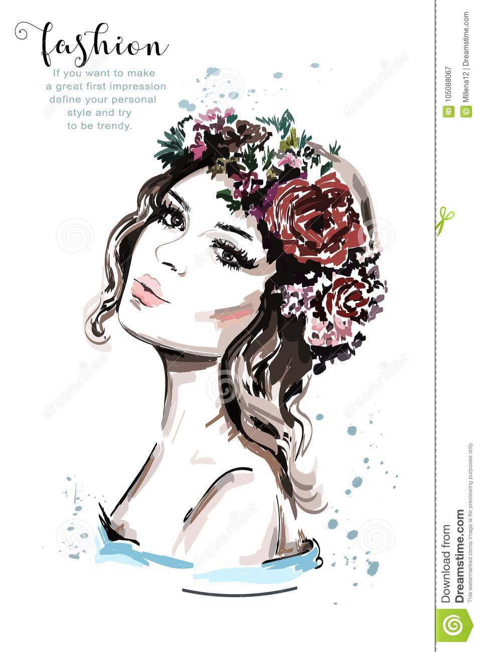 Realistic woman portrait. Hand drawn beautiful young woman with hair flower wreath.