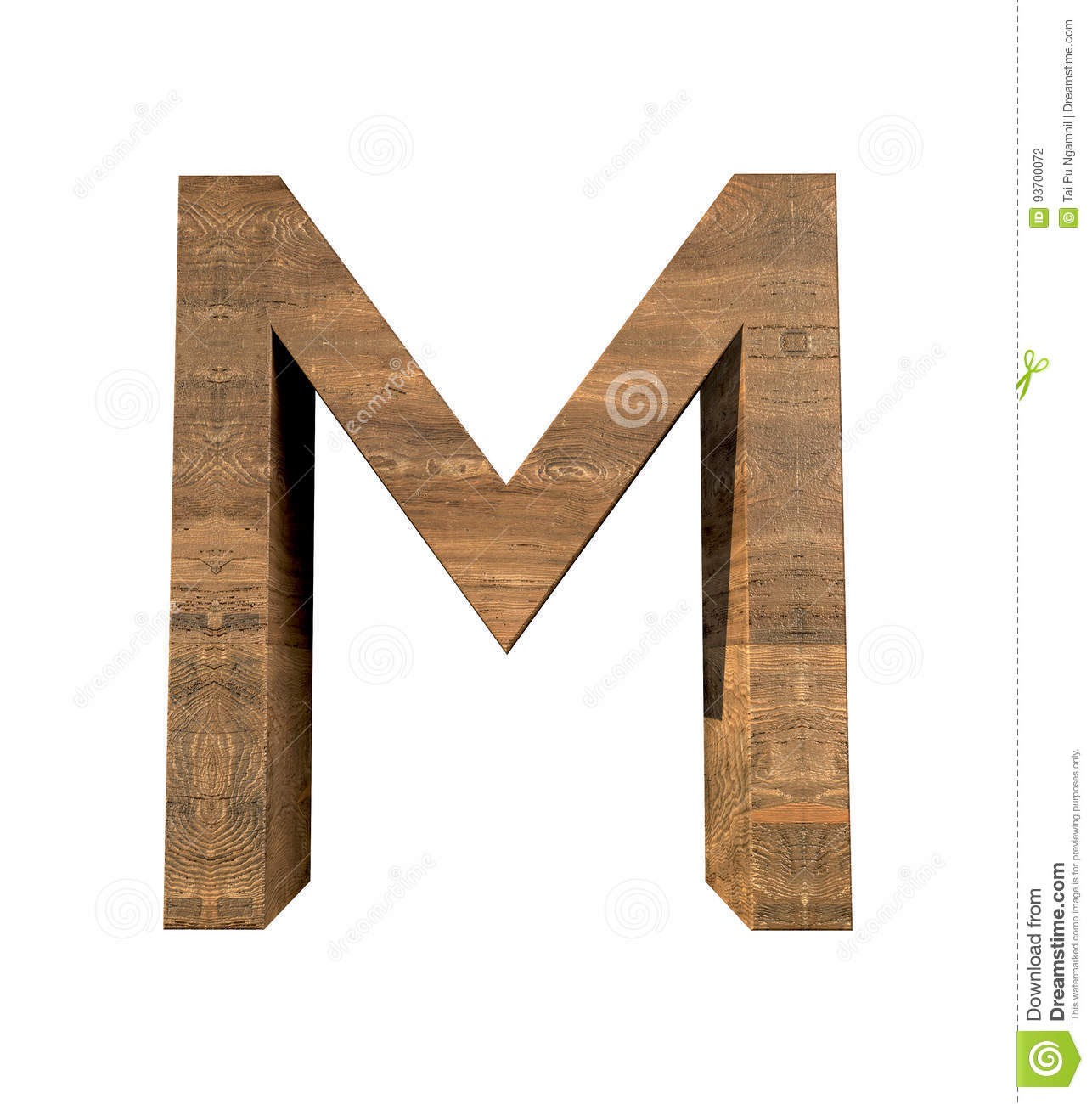 realistic wooden letter m isolated on white background