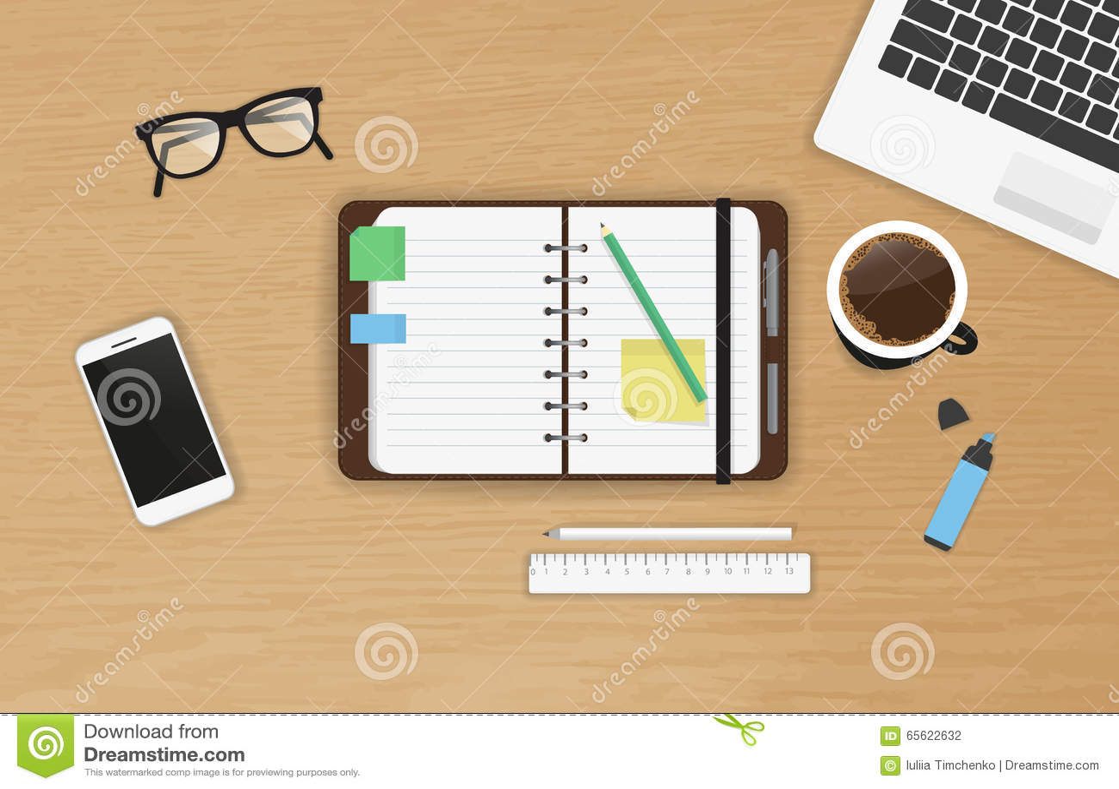 realistic work desk organization top view stock vector