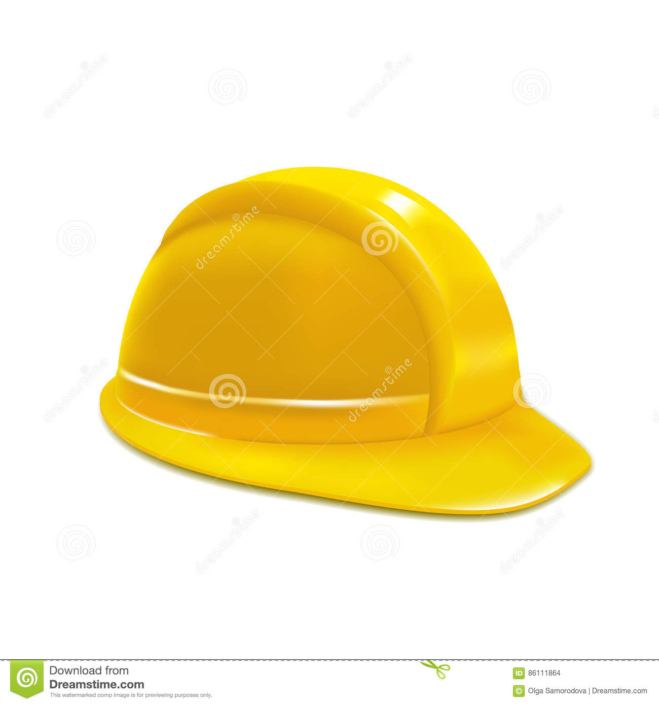 ab3a14f4 Realistic Construction or Working Safety Yellow Helmet or Hat Design  Element Web. Vector illustration