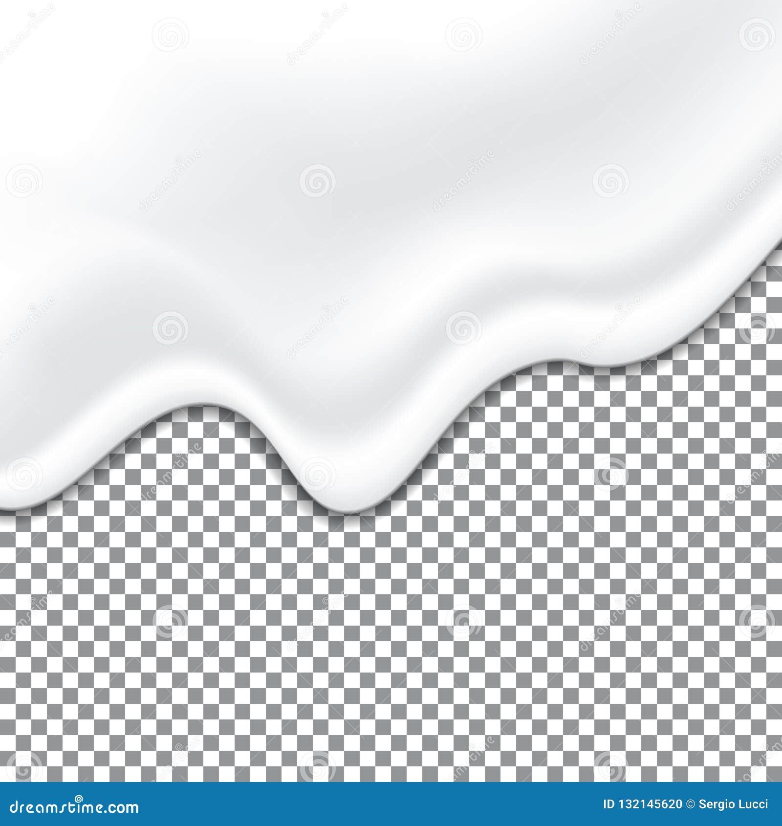 Realistic yogurt white texture. Mayonnaise sauce. Liquid creamy texture on transparent background. Vector