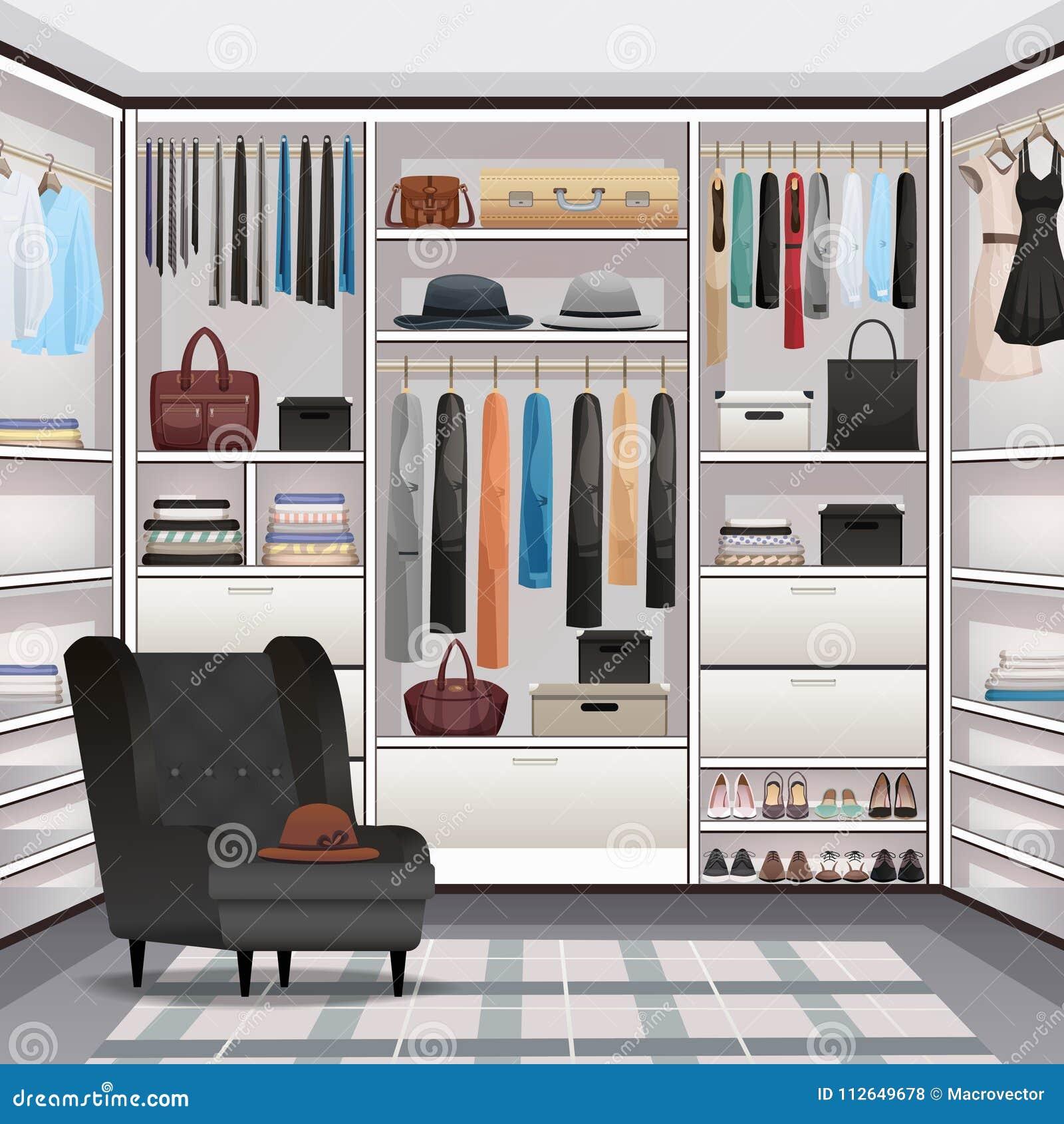 Realistico interno del guardaroba del guardaroba