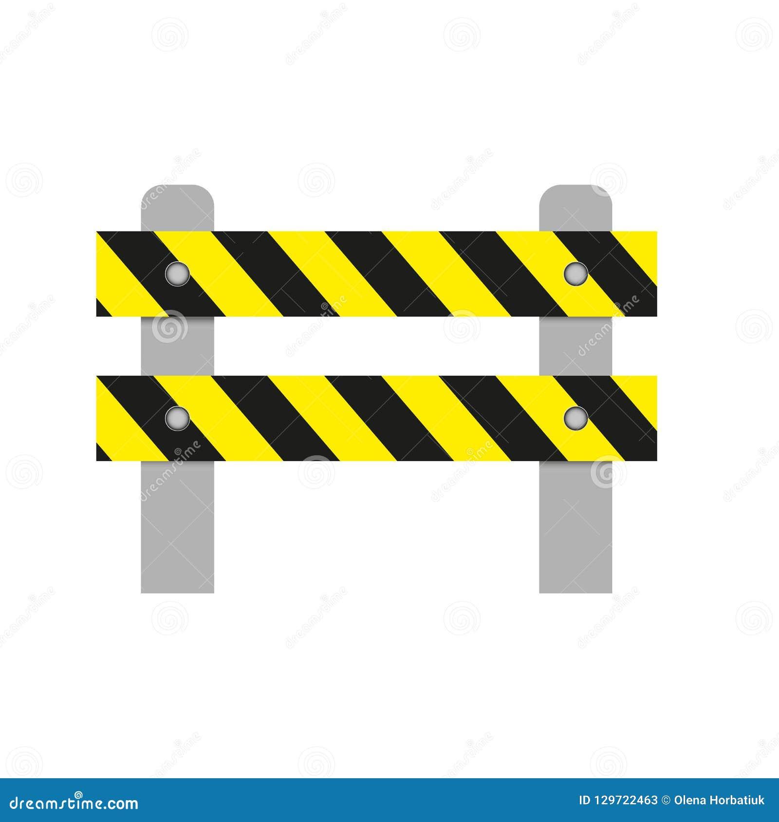 Realistisch beeld van een wegbarrière met gele strepen op een witte achtergrond Geïsoleerd voorwerp, verkeersveiligheidsteken Vec