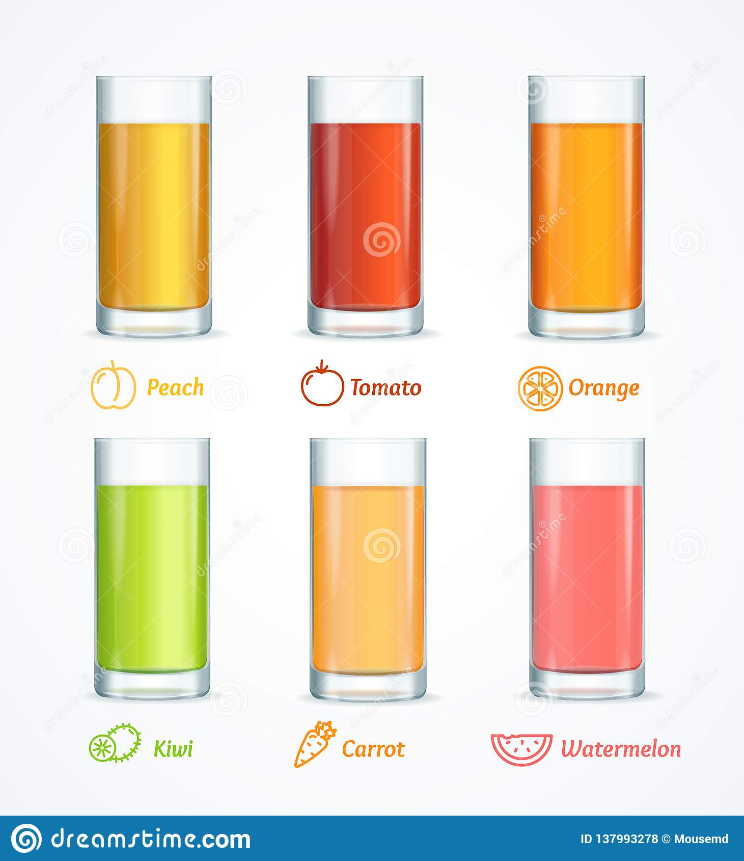 Realistisch Gedetailleerd 3d Verschillend Juice Glass Set Vector