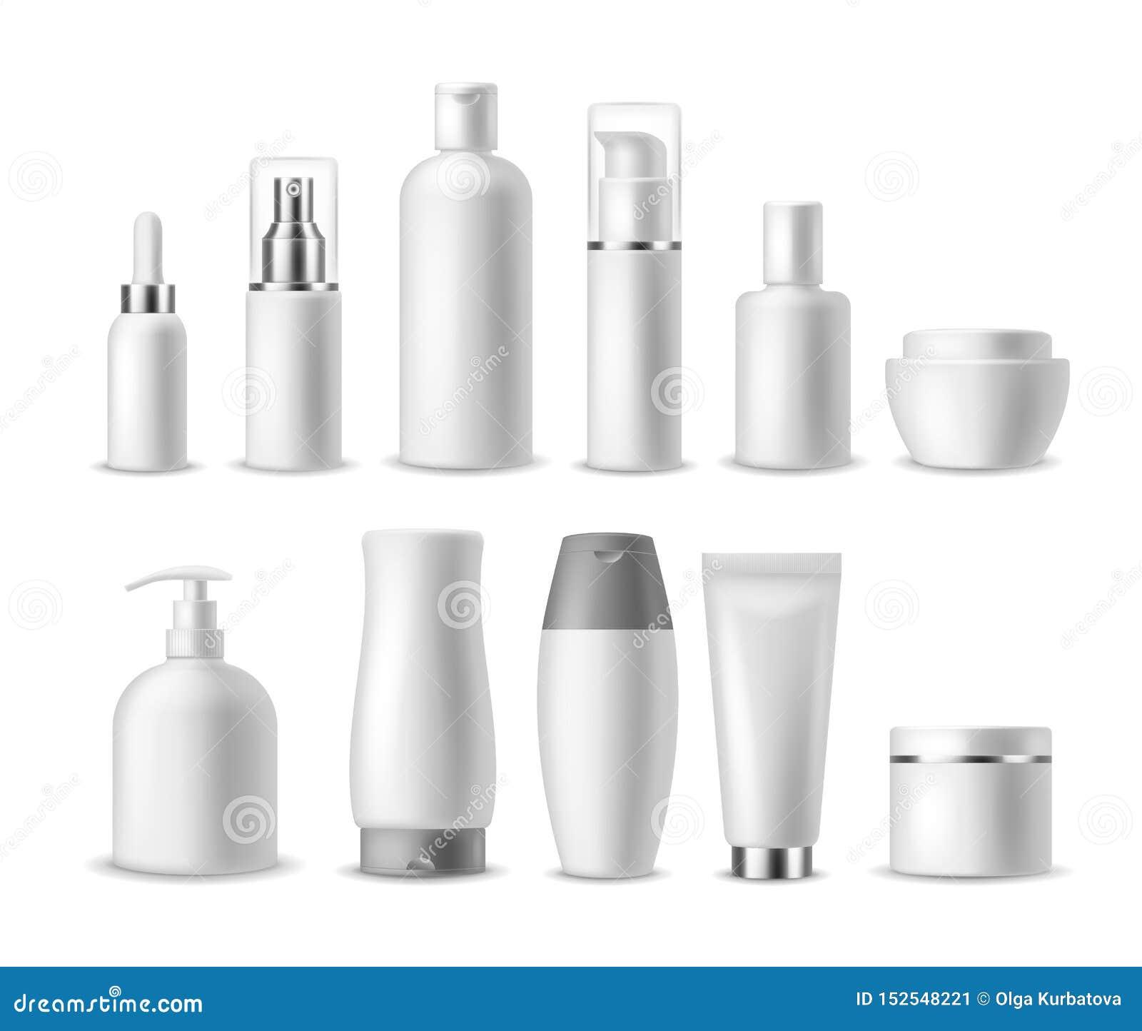 Realistisch kosmetisch pakket Witte lege schoonheidsmiddelenflessen, containers Schoonheidsproducten Nevel, zeep en room, shampoo