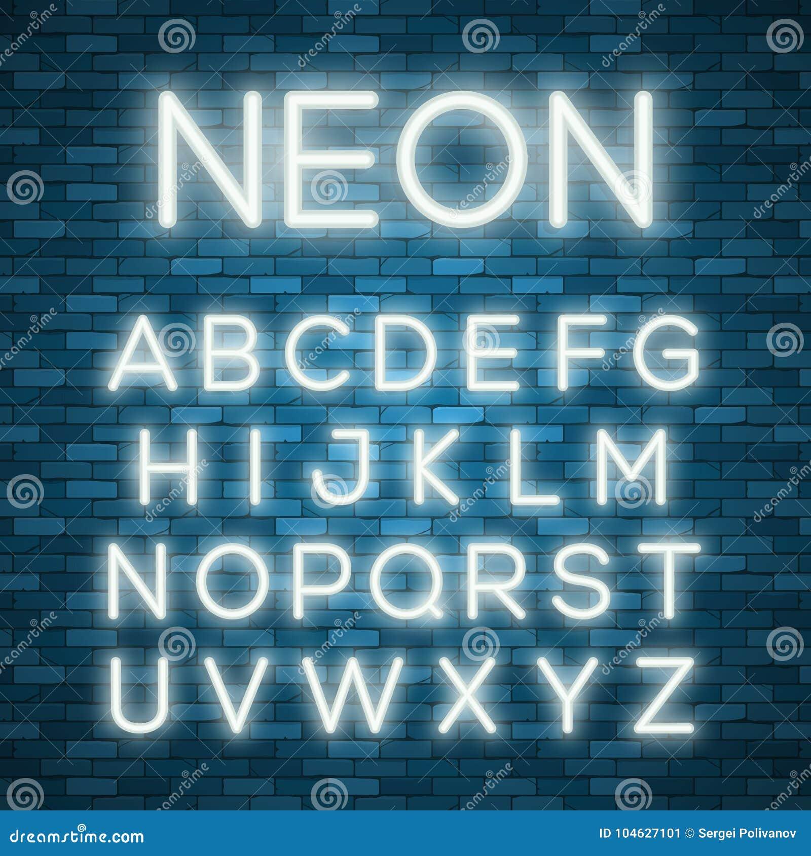 Download Realistisch Neonalfabet Heldere Neon Gloeiende Doopvont Vector Illustratie - Illustratie bestaande uit brief, staaf: 104627101