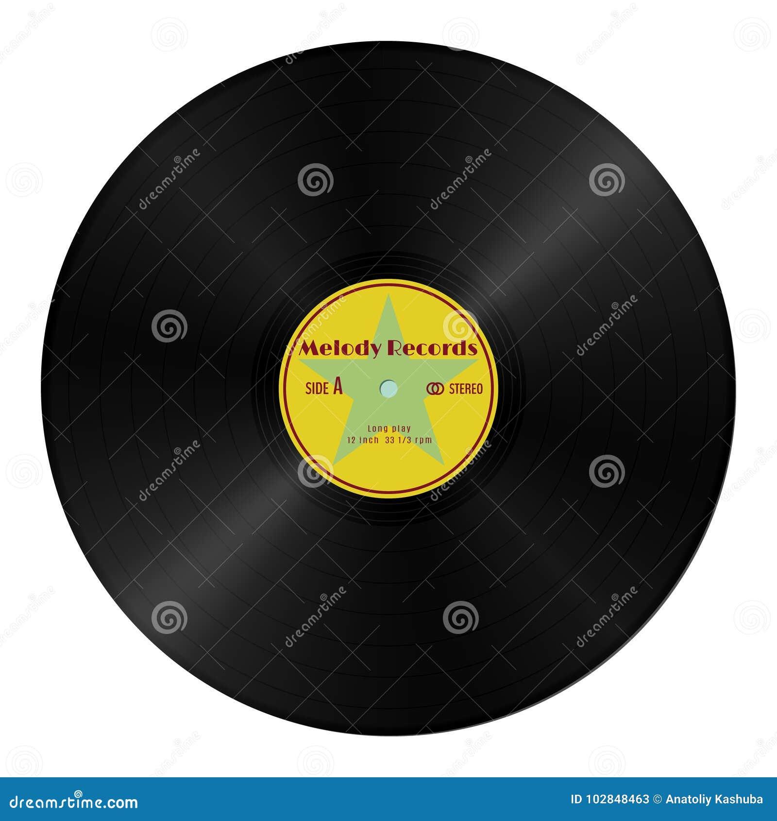 Realistisch vectorgrammofoon vinylverslag in retro stijl met geel etiket Uitstekende audio plastic schijf