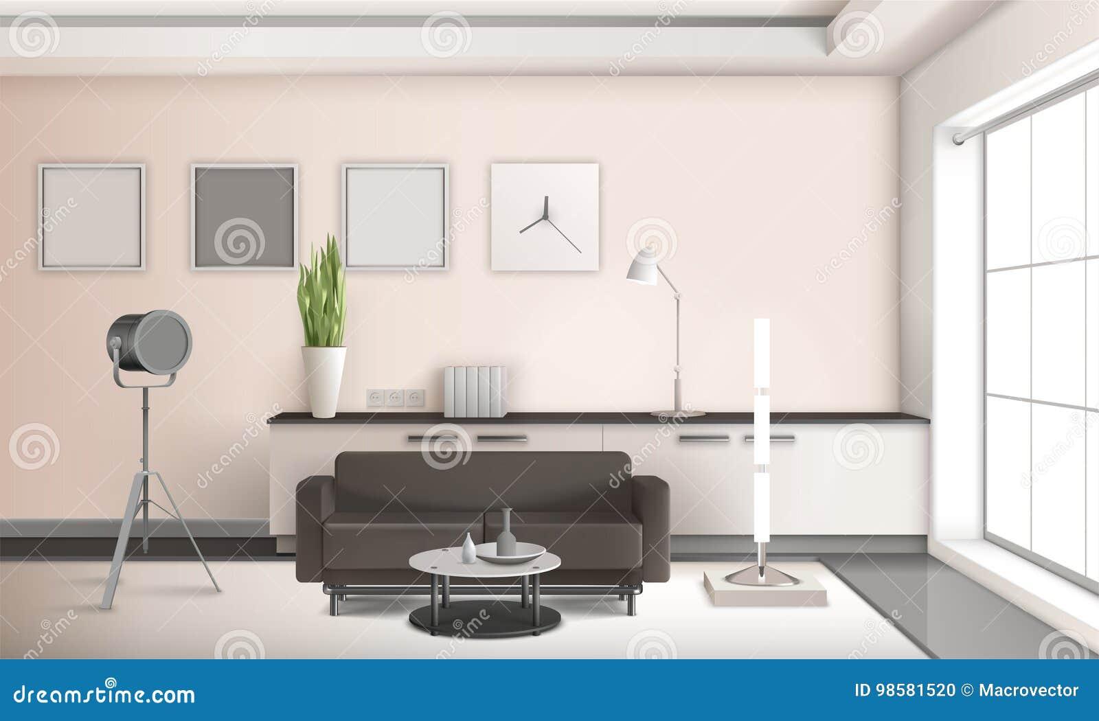 3d Woonkamer Ontwerpen : Realistisch woonkamer binnenlands 3d ontwerp vector illustratie