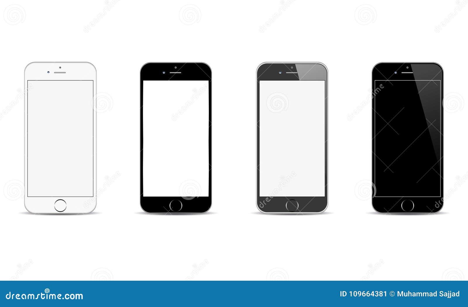 Realistische Android Handy-Plusillustration Vektor-Apples Iphone 6