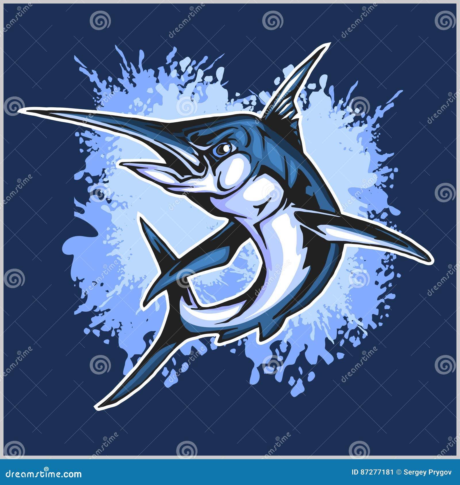 Realistische blauwe Marlijnvissen