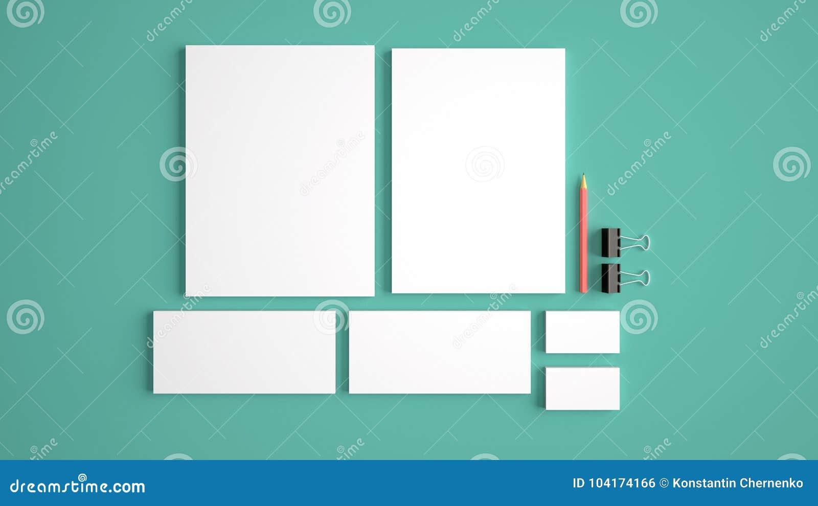 Realistische Briefpapier-Modelle eingestellt Briefkopf, Namenkarte, Umschlag, Darstellungsordner