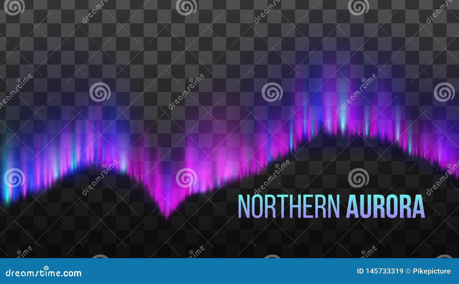 Realistische bunte Nord-Aurora Light Vector
