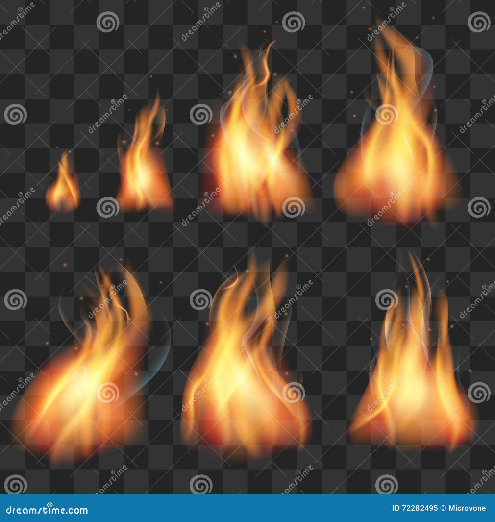 Realistische de vlammen vectorreeks van de brandanimatie sprites