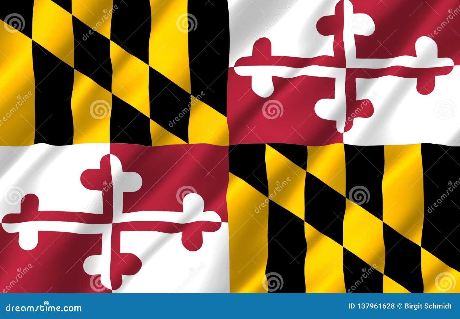 Realistische Flaggenillustration Marylands