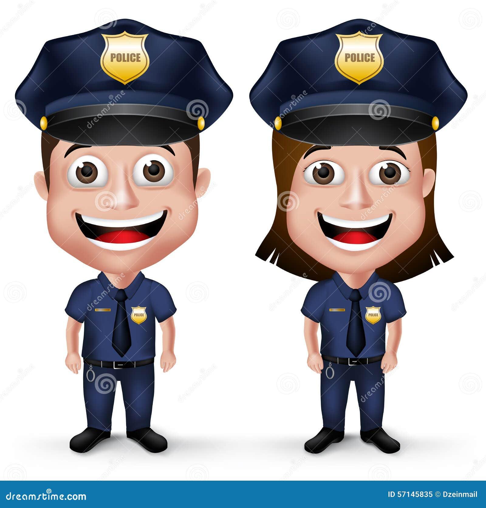 Realistische Freundliche Charaktere Polizist Und Polizeibeamtin Der ...