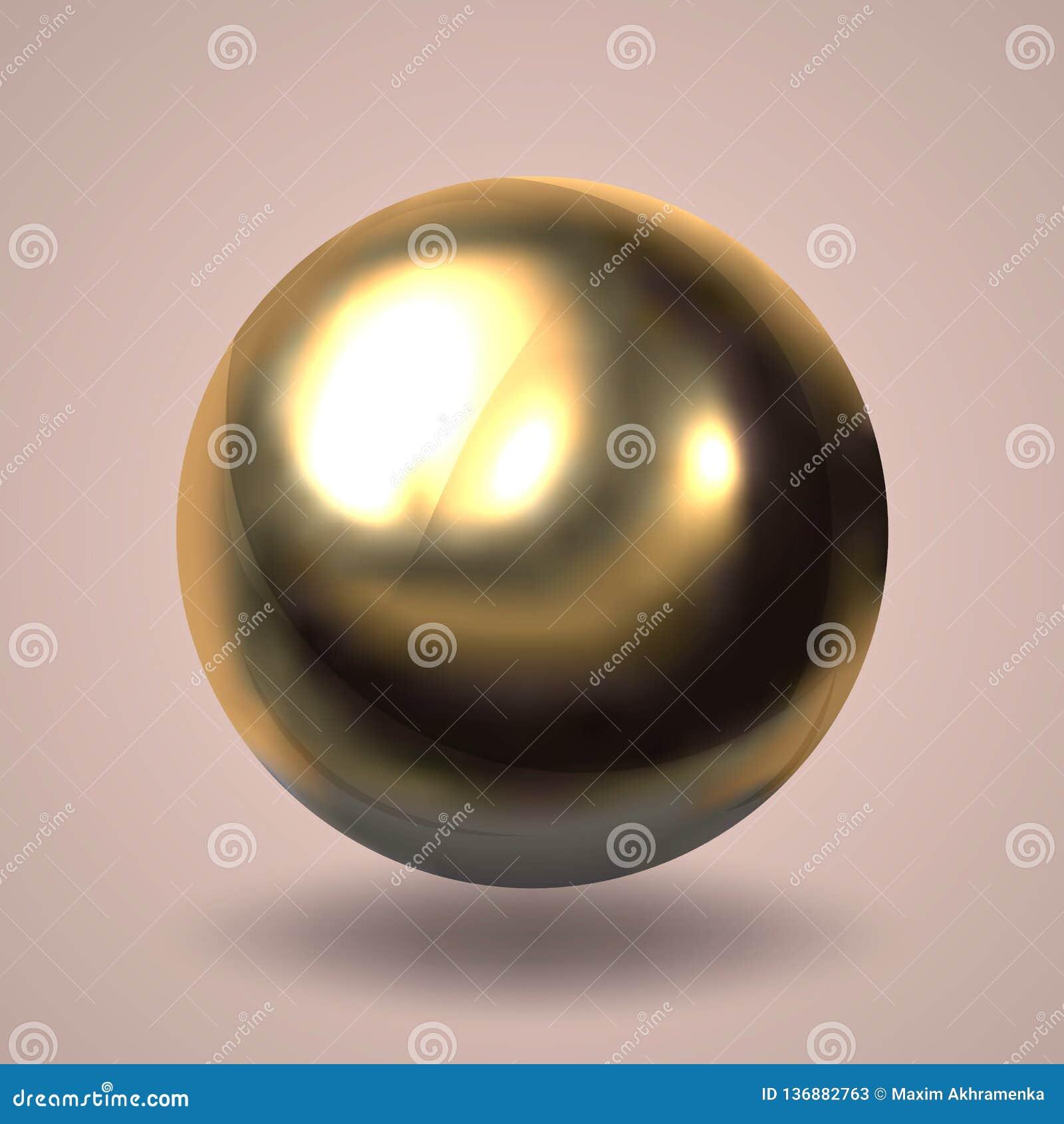 Realistische gouden bal Lichtpaarse achtergrond Vector illustratie