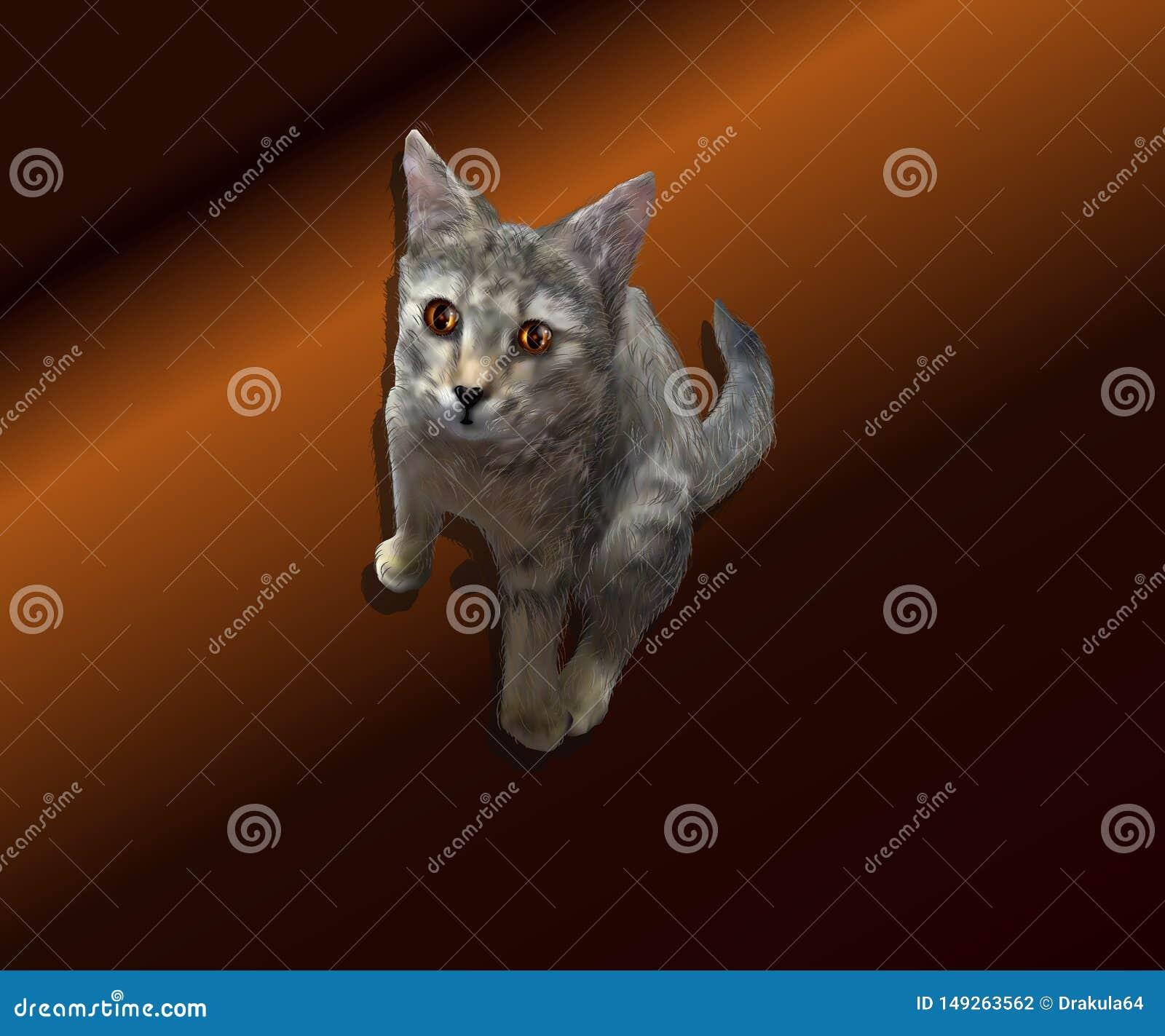 Realistische Illustration eines Kätzchens auf einem braunen Hintergrund