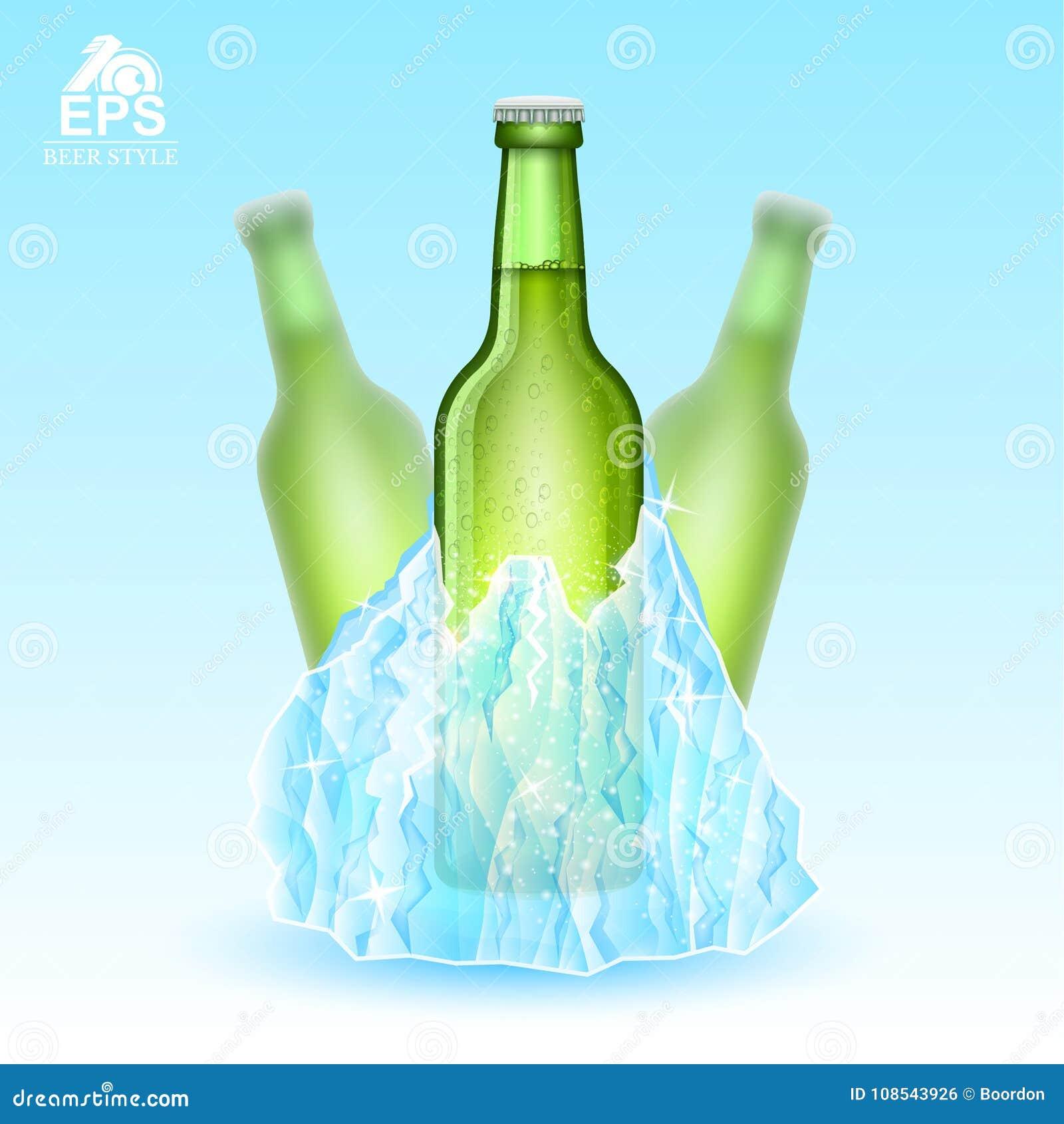 Realistische onechte omhoog groene fles drie bier be*vriezen-in ijsberg op blauwe achtergrond