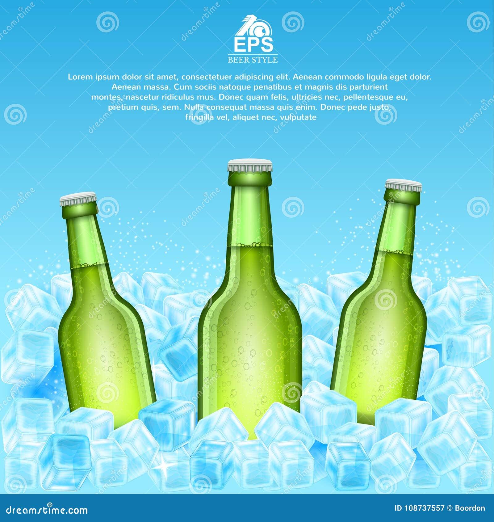 Realistische onechte omhoog groene fles drie bier in ijsblokjes op blauw