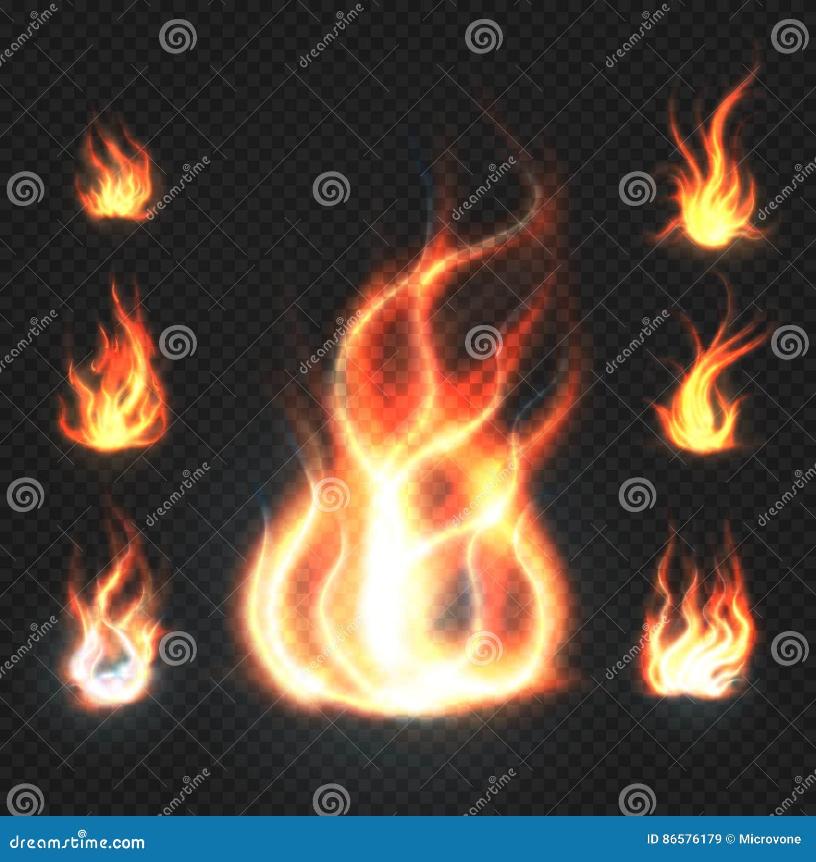 Realistische oranje en rode brandvlammen, vuurbollen op transparante vectorillustratie als achtergrond