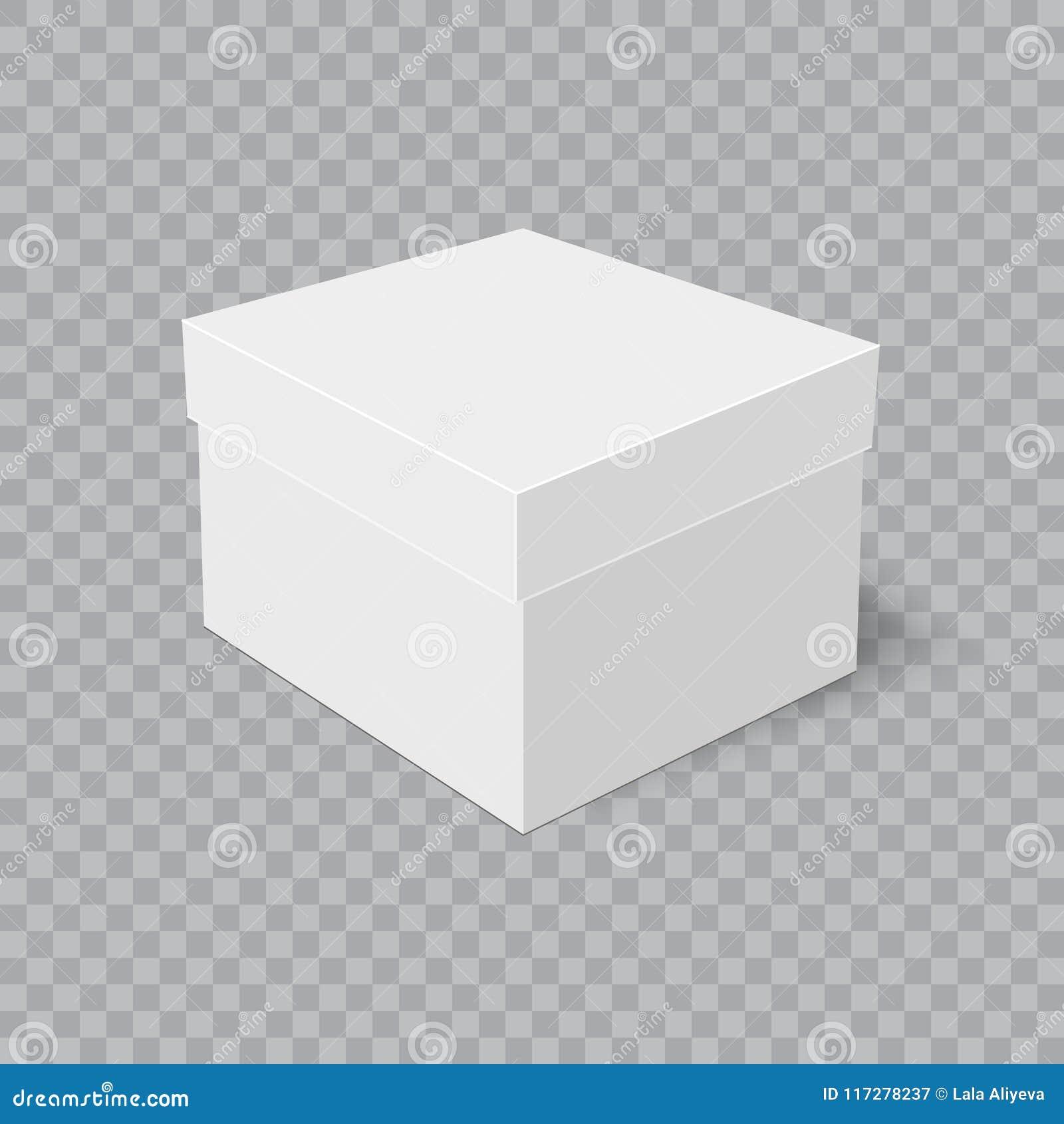 Realistische Pappschachtel mit weichem Schatten auf transparentem Hintergrund Vektor