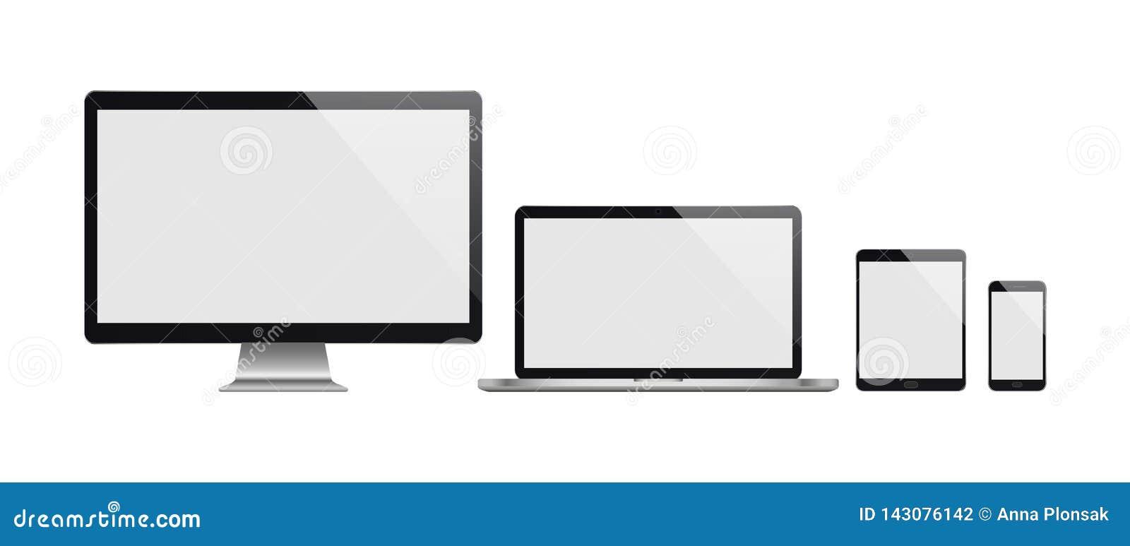 Realistische reeks van computer, laptop, tablet en smartphone Realistische illustratie