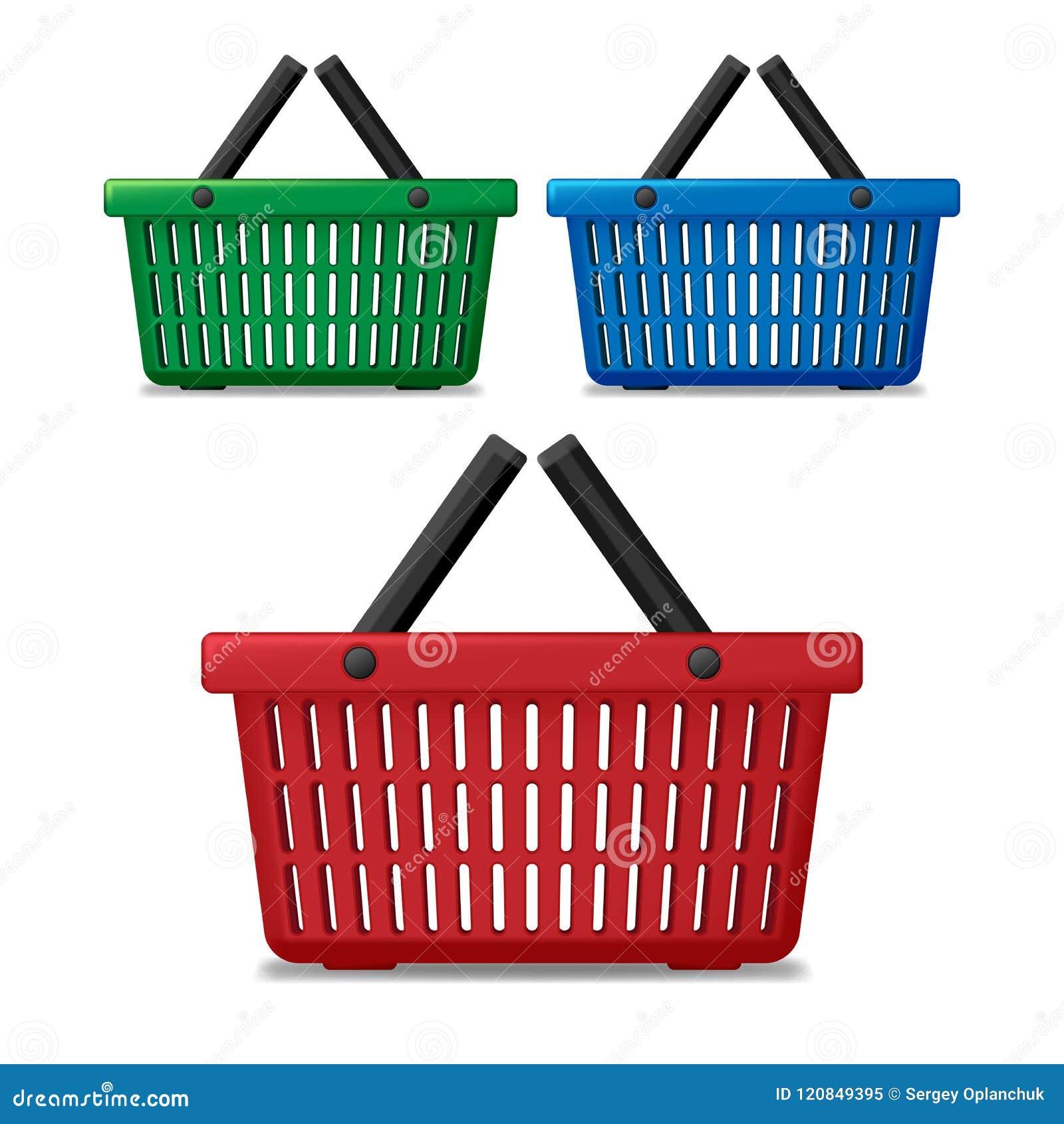 Realistische rode, blauwe en groene lege supermarkt het winkelen geïsoleerde mand De kar van de mandmarkt voor verkoop met handva
