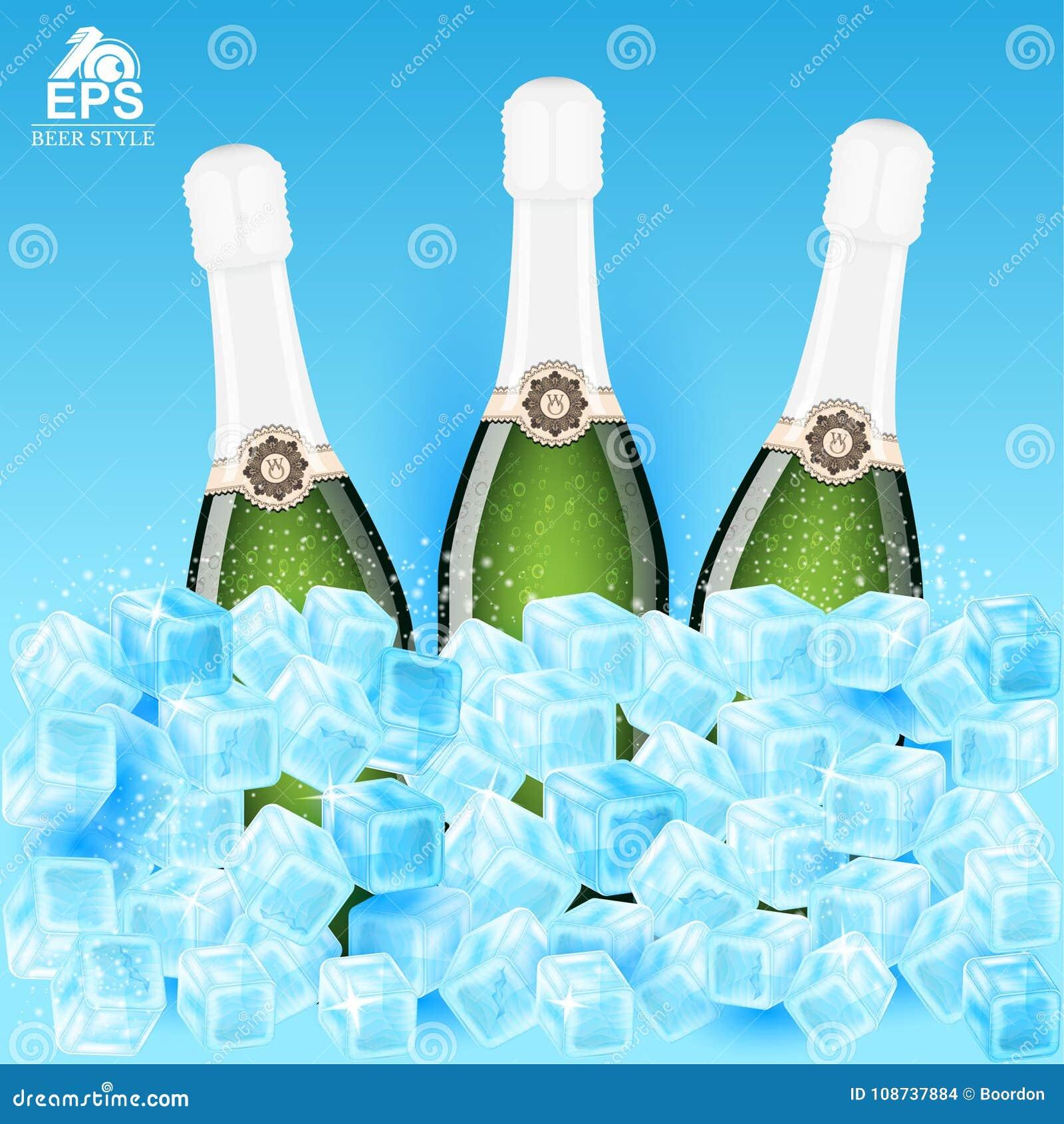Realistische spot drie op fles champagne onder ijsblokjes op blauw