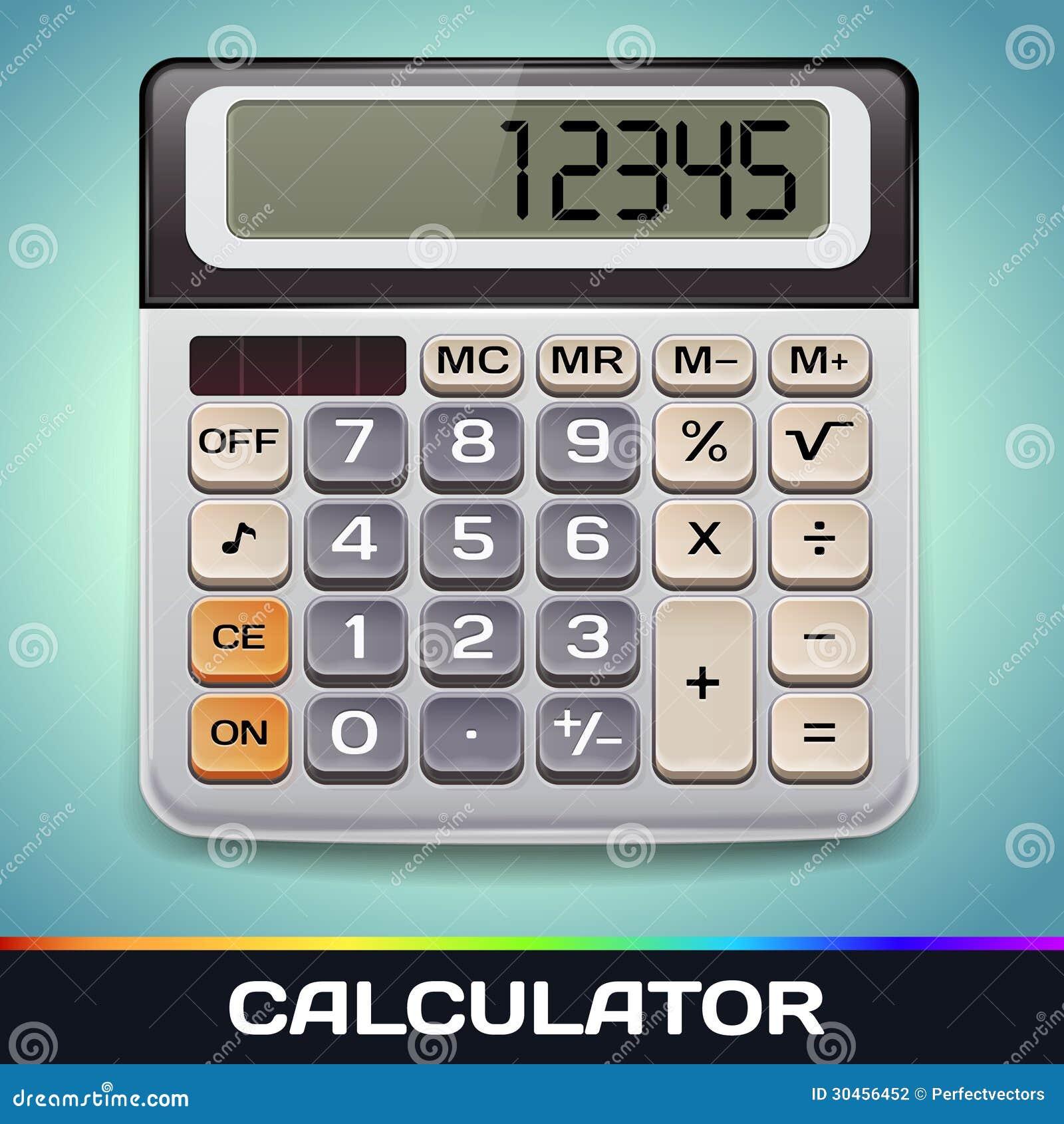 Realistische Vector Elektronische Calculator