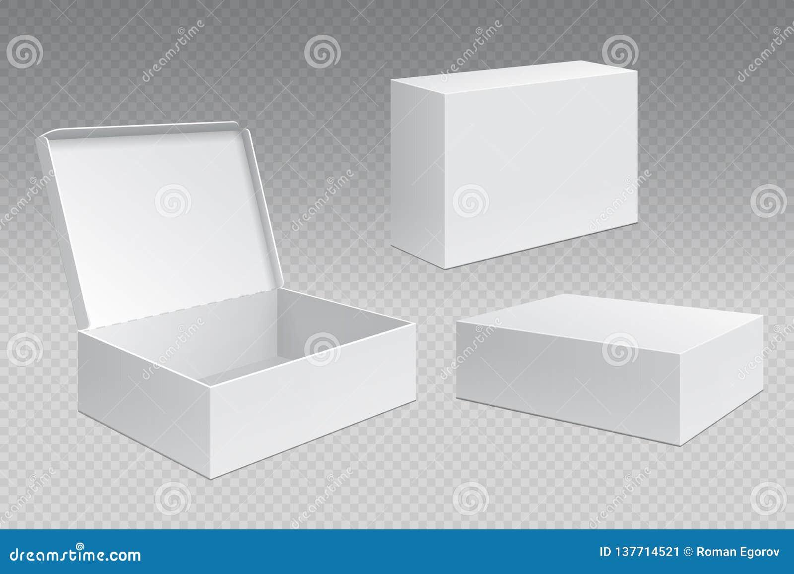Realistische verpakkende dozen Het witte open kartonpak, lege het verhandelen producten bespot omhoog Karton vierkante container