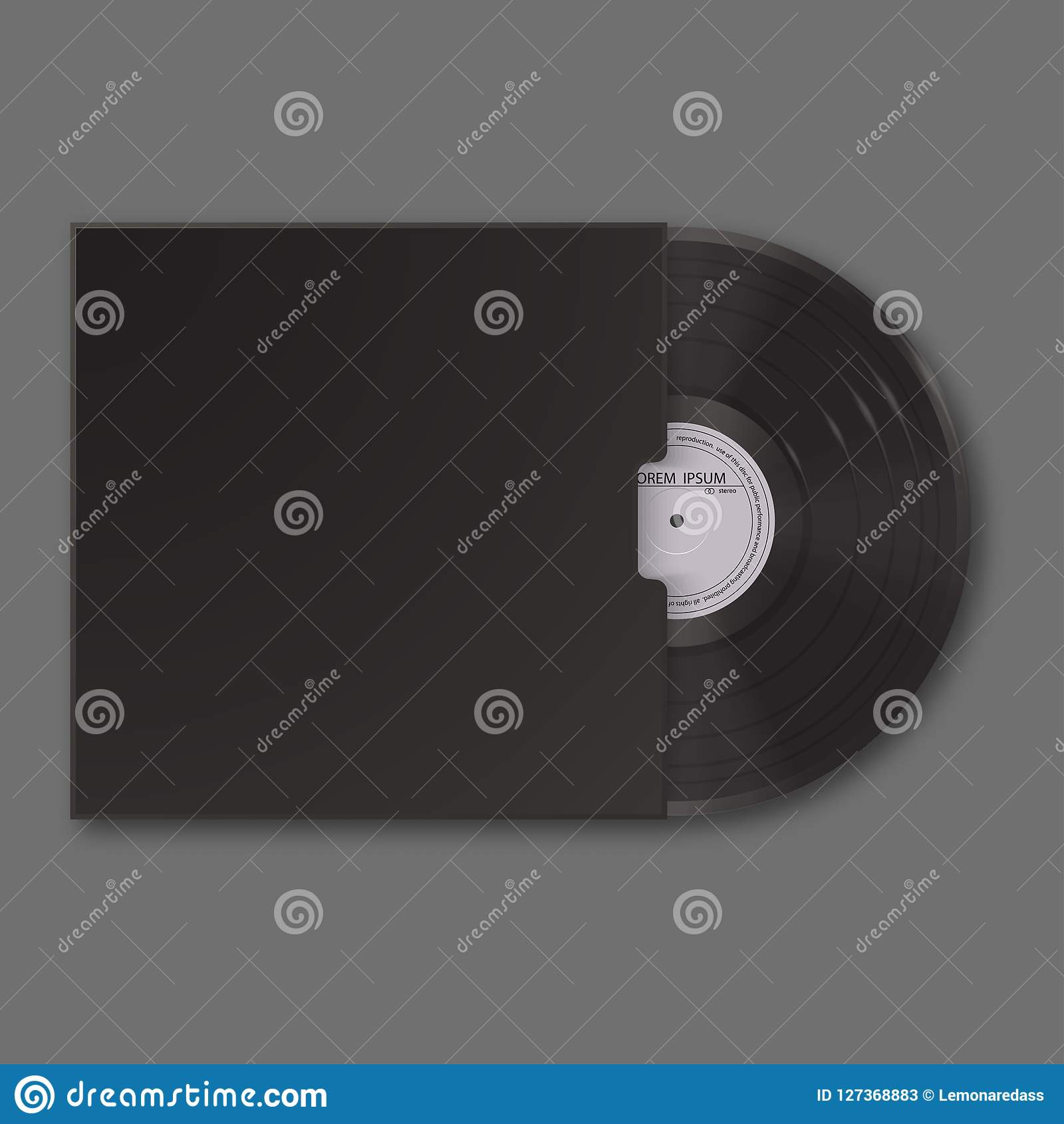 Realistische Vinylaufzeichnung im Ärmel Schwarzer Spott des freien Raumes oben lokalisiert auf grauem Hintergrund