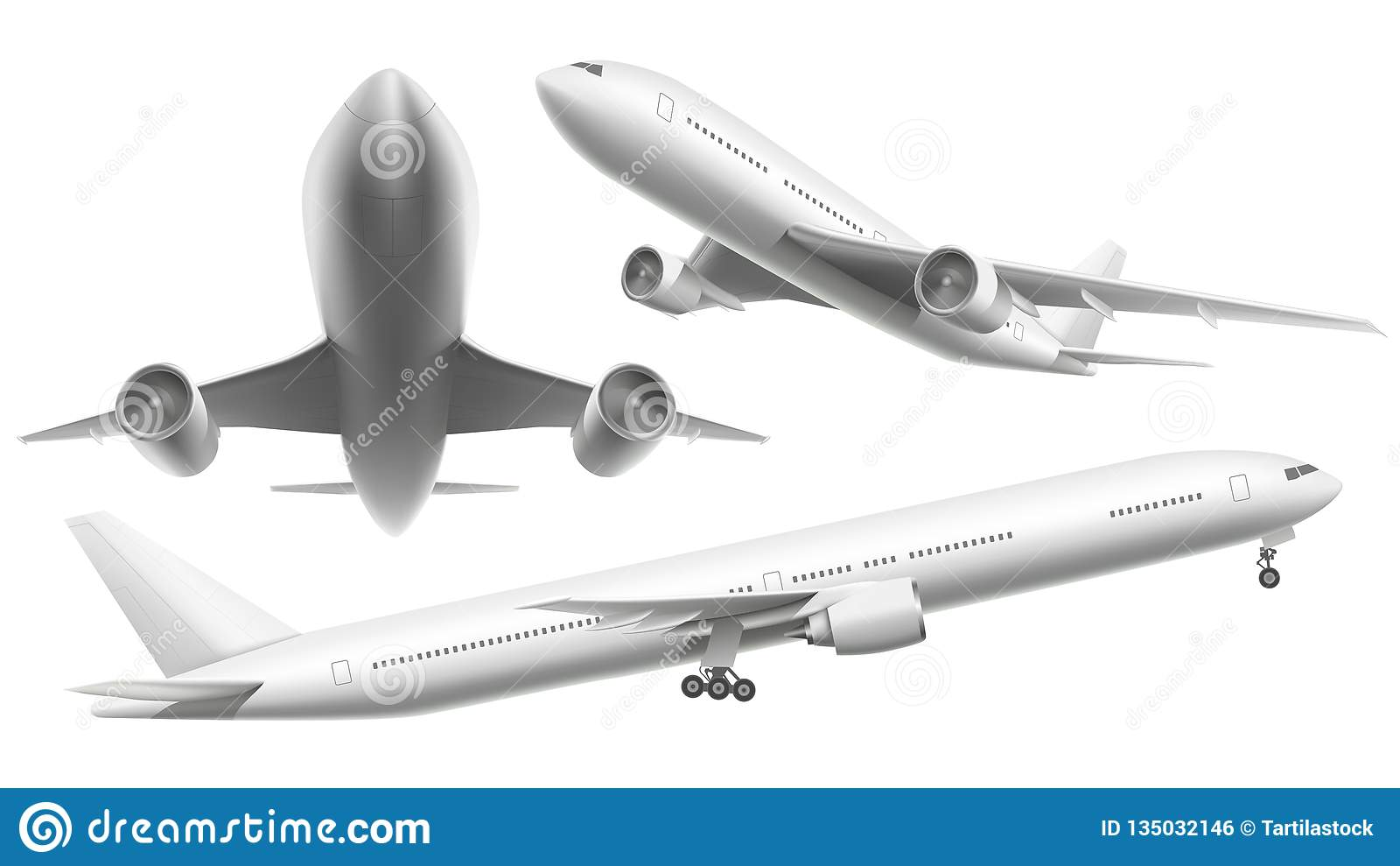 Realistische vliegtuigen Het passagiersvliegtuig, het hemel vliegende vliegtuig en het vliegtuig in verschillende meningen isolee